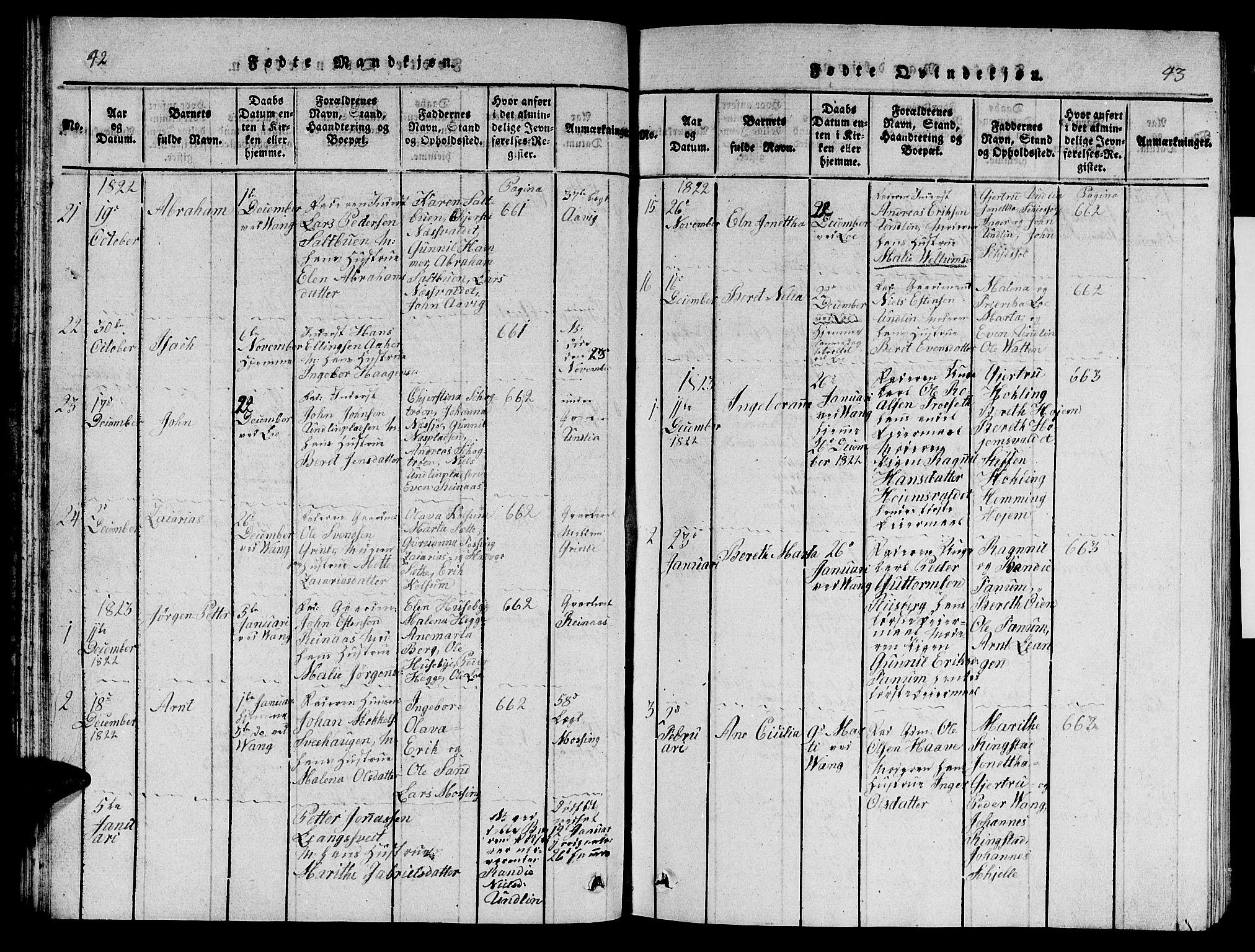 SAT, Ministerialprotokoller, klokkerbøker og fødselsregistre - Nord-Trøndelag, 714/L0132: Klokkerbok nr. 714C01, 1817-1824, s. 42-43