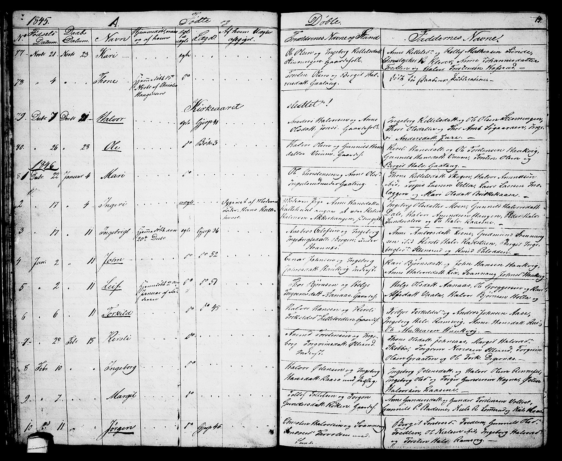 SAKO, Sauherad kirkebøker, G/Ga/L0002: Klokkerbok nr. I 2, 1842-1866, s. 14