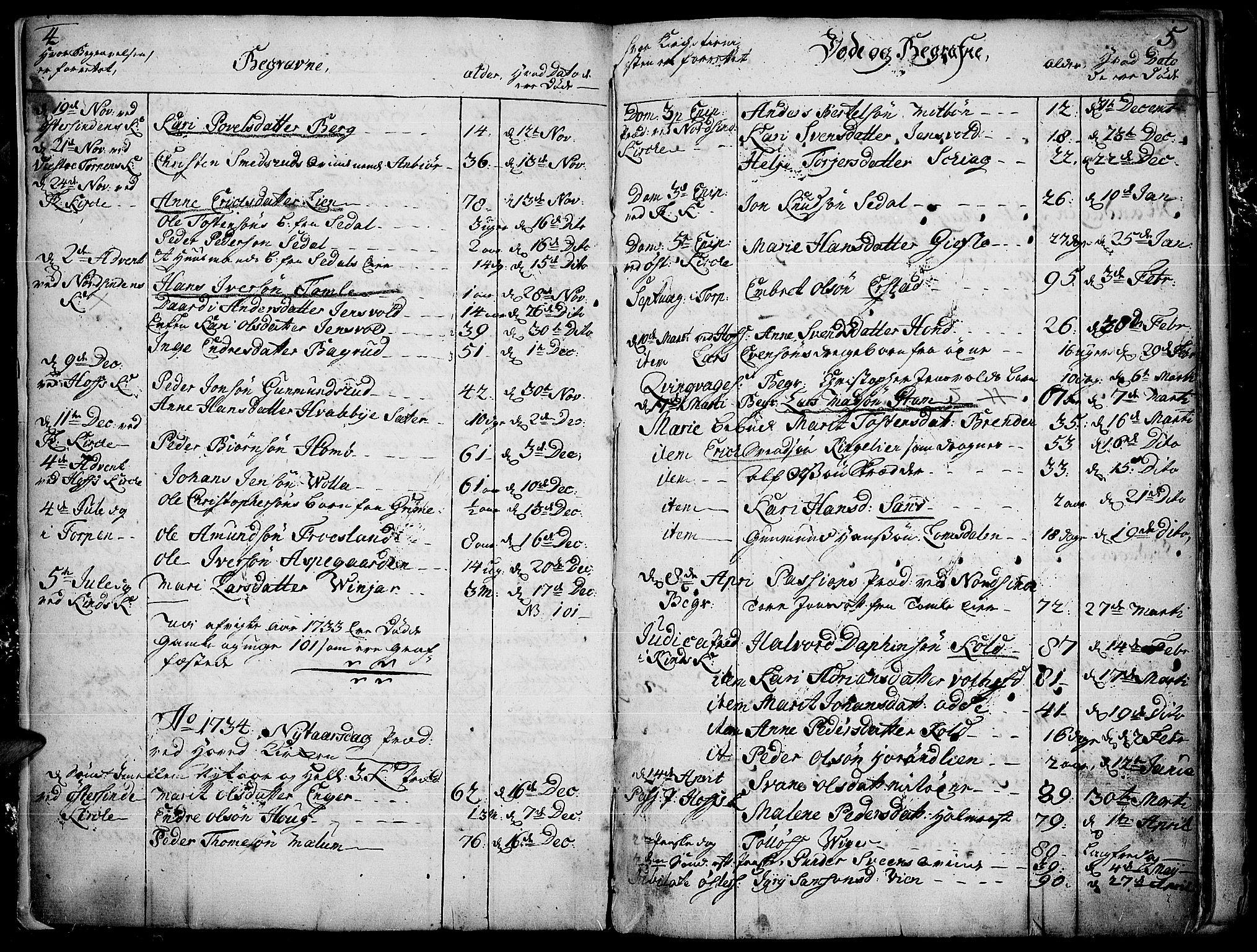 SAH, Land prestekontor, Ministerialbok nr. 4, 1733-1764, s. 4-5