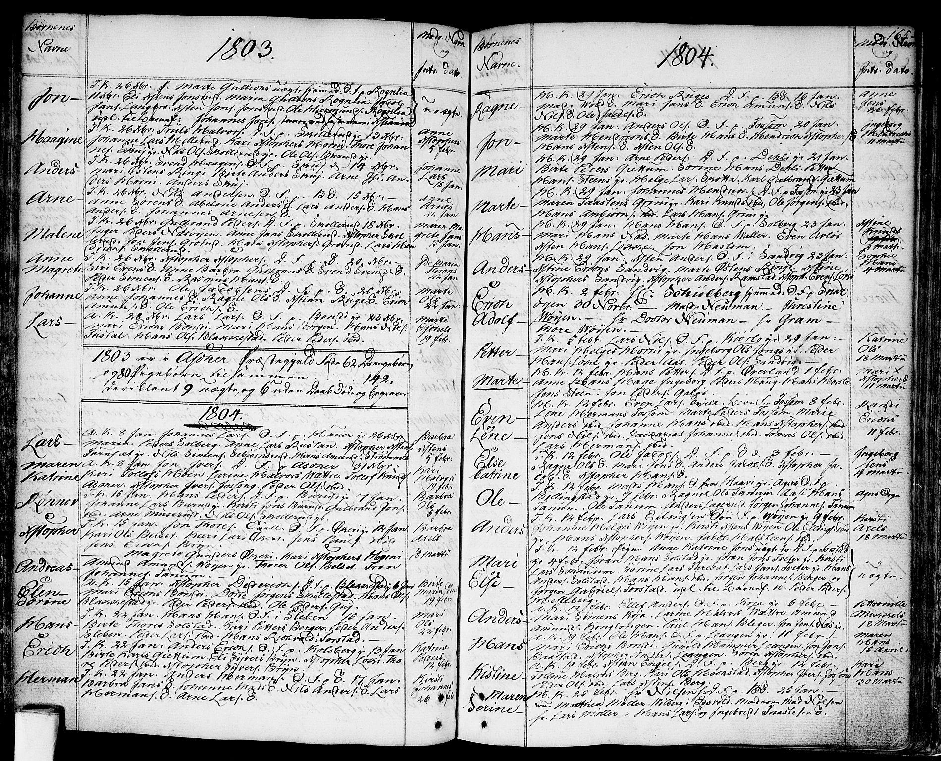 SAO, Asker prestekontor Kirkebøker, F/Fa/L0003: Ministerialbok nr. I 3, 1767-1807, s. 165
