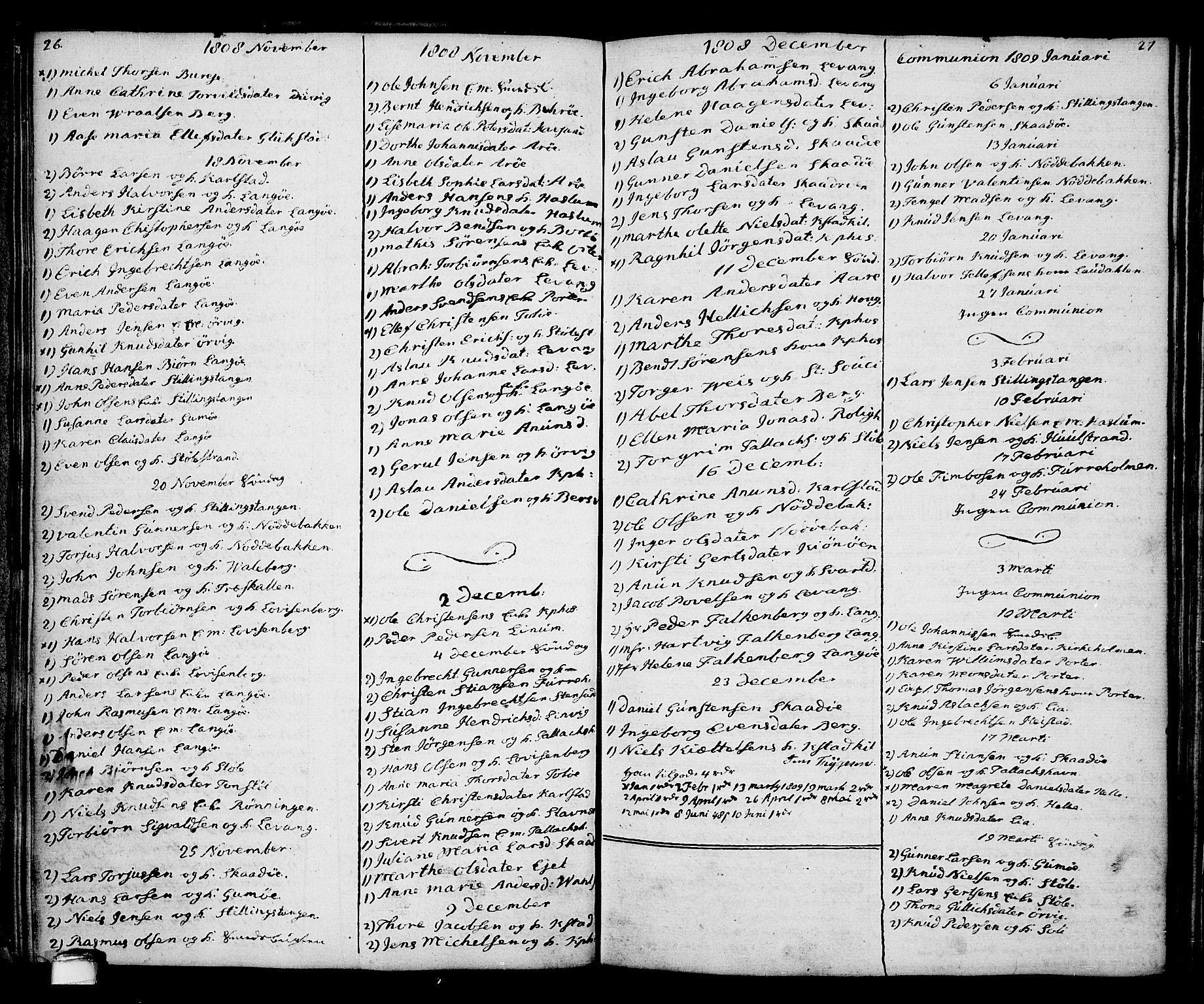 SAKO, Kragerø kirkebøker, G/Ga/L0001: Klokkerbok nr. 1 /2, 1806-1811, s. 26-27