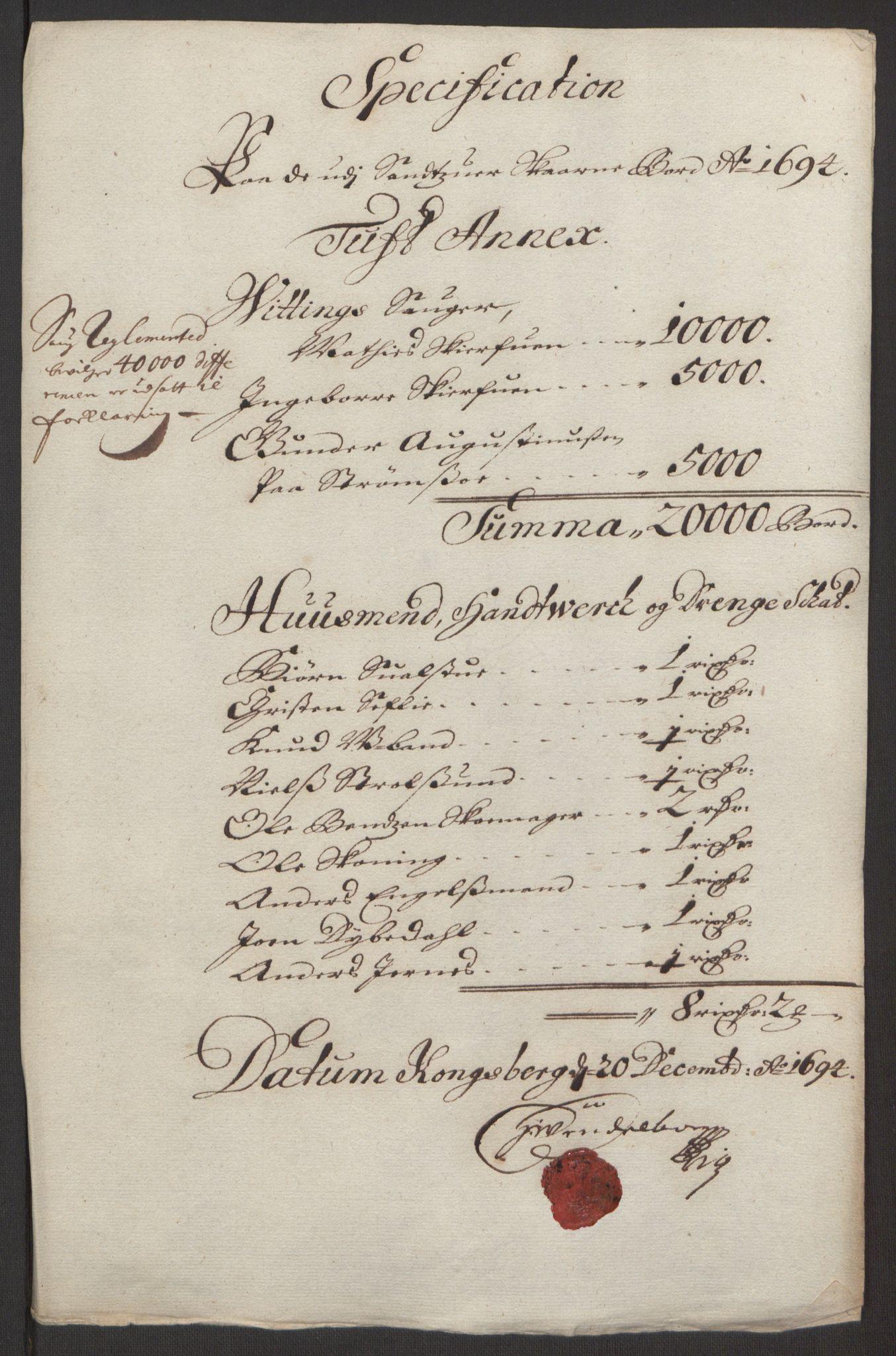RA, Rentekammeret inntil 1814, Reviderte regnskaper, Fogderegnskap, R24/L1575: Fogderegnskap Numedal og Sandsvær, 1692-1695, s. 250