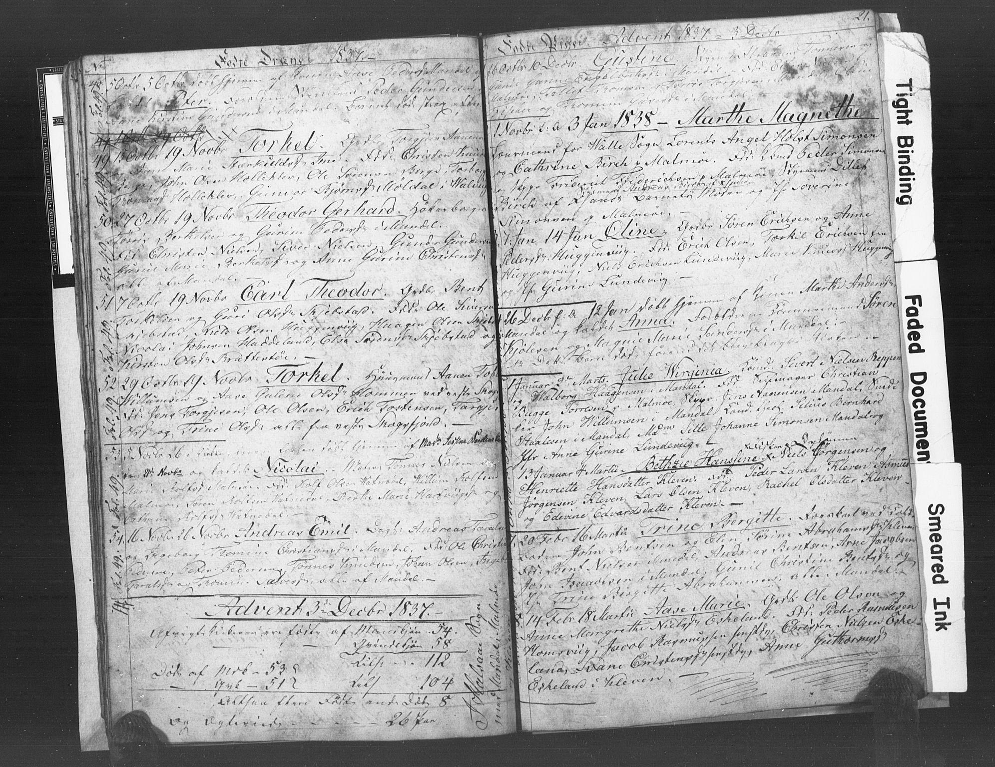 SAK, Mandal sokneprestkontor, F/Fb/Fba/L0003: Klokkerbok nr. B 1C, 1834-1838, s. 21