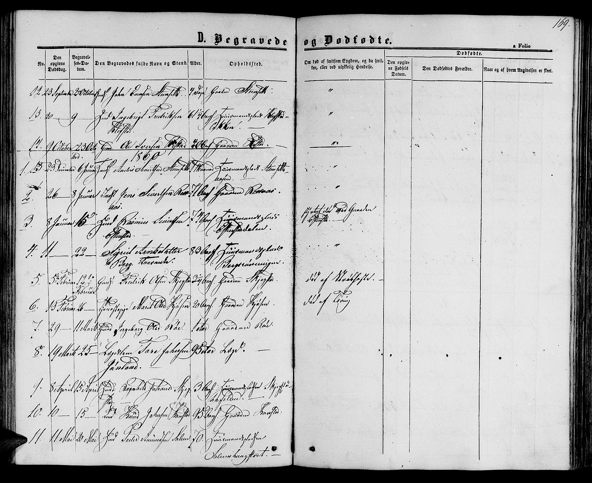 SAT, Ministerialprotokoller, klokkerbøker og fødselsregistre - Sør-Trøndelag, 694/L1131: Klokkerbok nr. 694C03, 1858-1886, s. 169