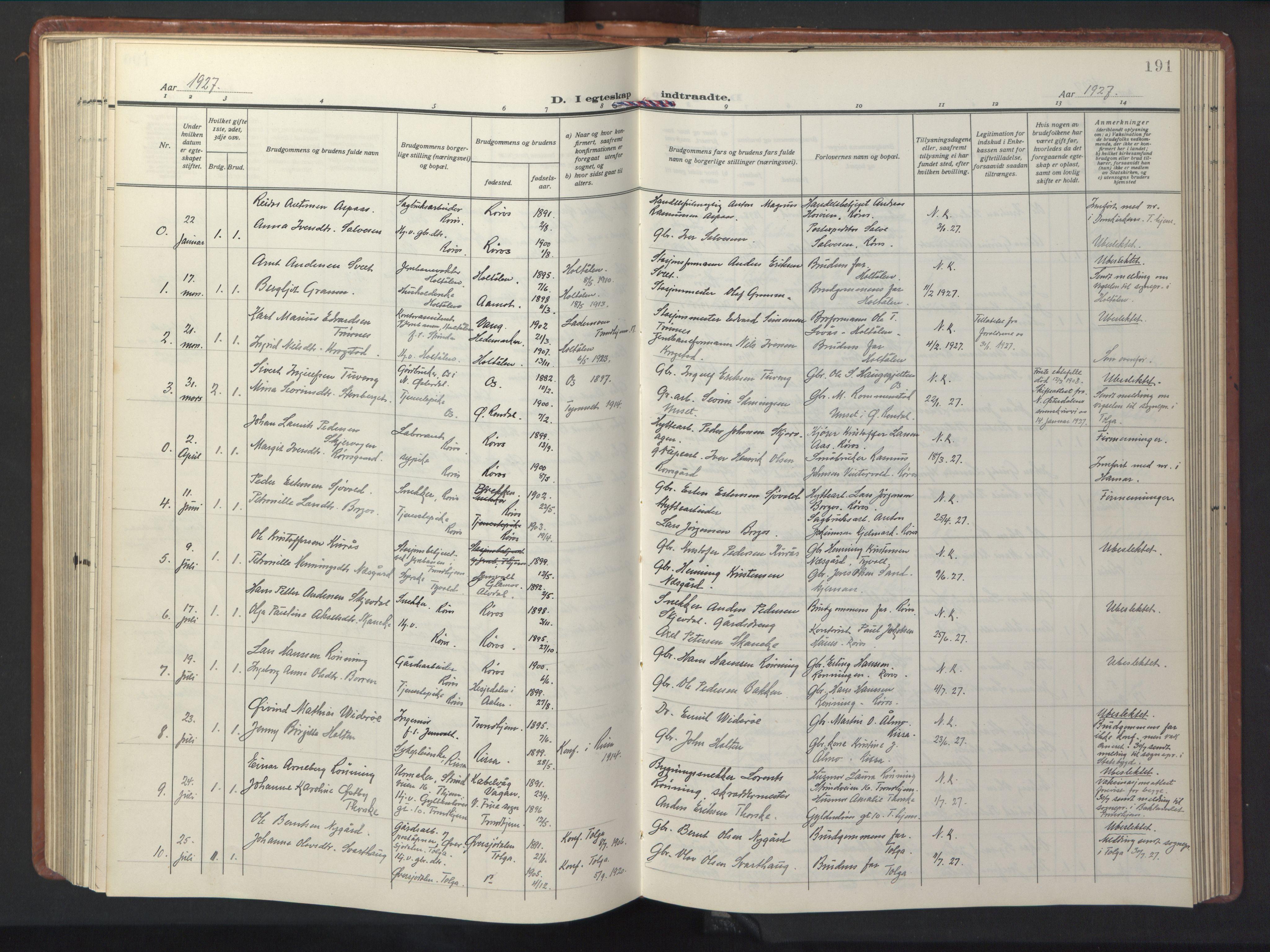 SAT, Ministerialprotokoller, klokkerbøker og fødselsregistre - Sør-Trøndelag, 681/L0943: Klokkerbok nr. 681C07, 1926-1954, s. 191