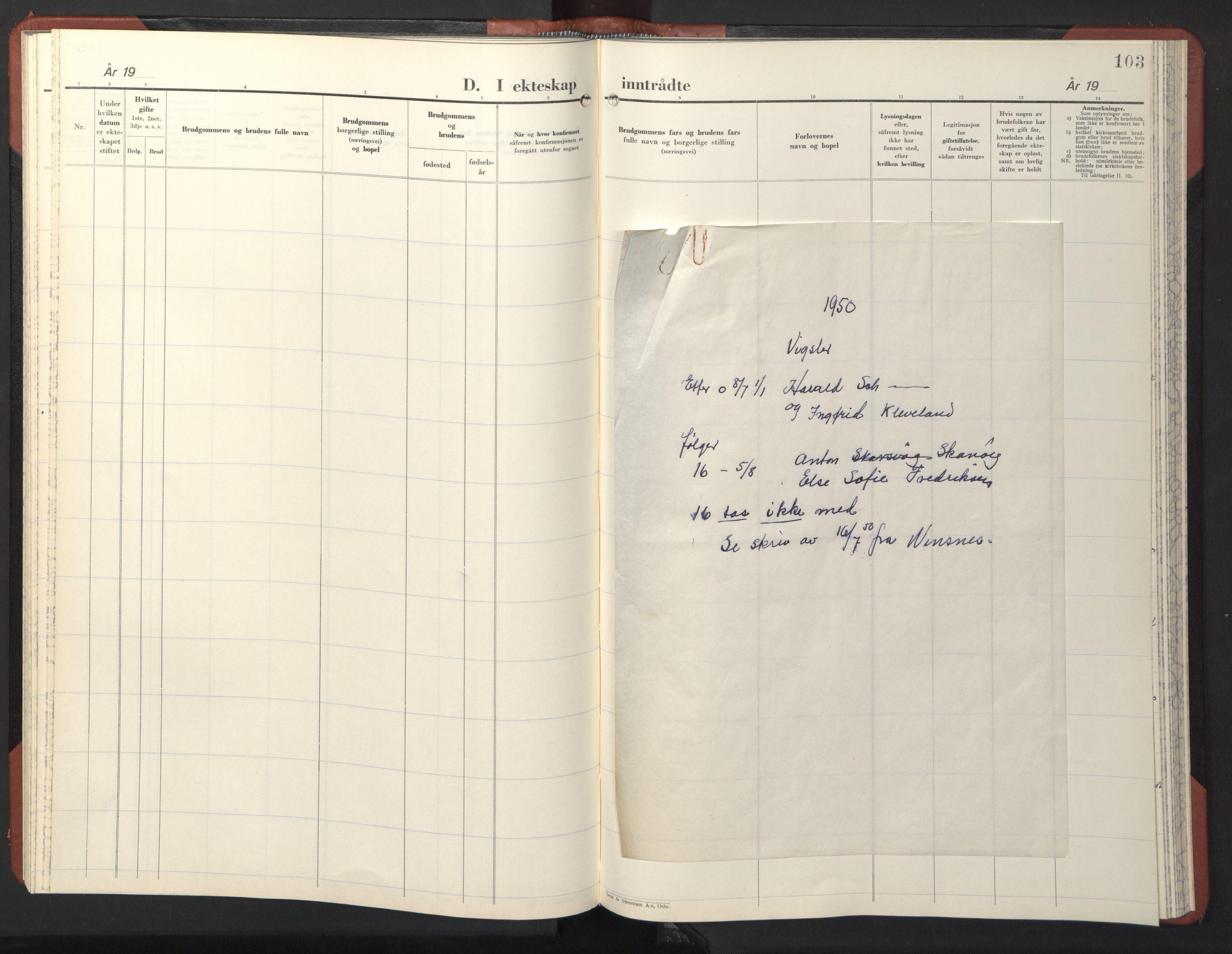 SAT, Ministerialprotokoller, klokkerbøker og fødselsregistre - Sør-Trøndelag, 611/L0359: Klokkerbok nr. 611C07, 1947-1950, s. 103