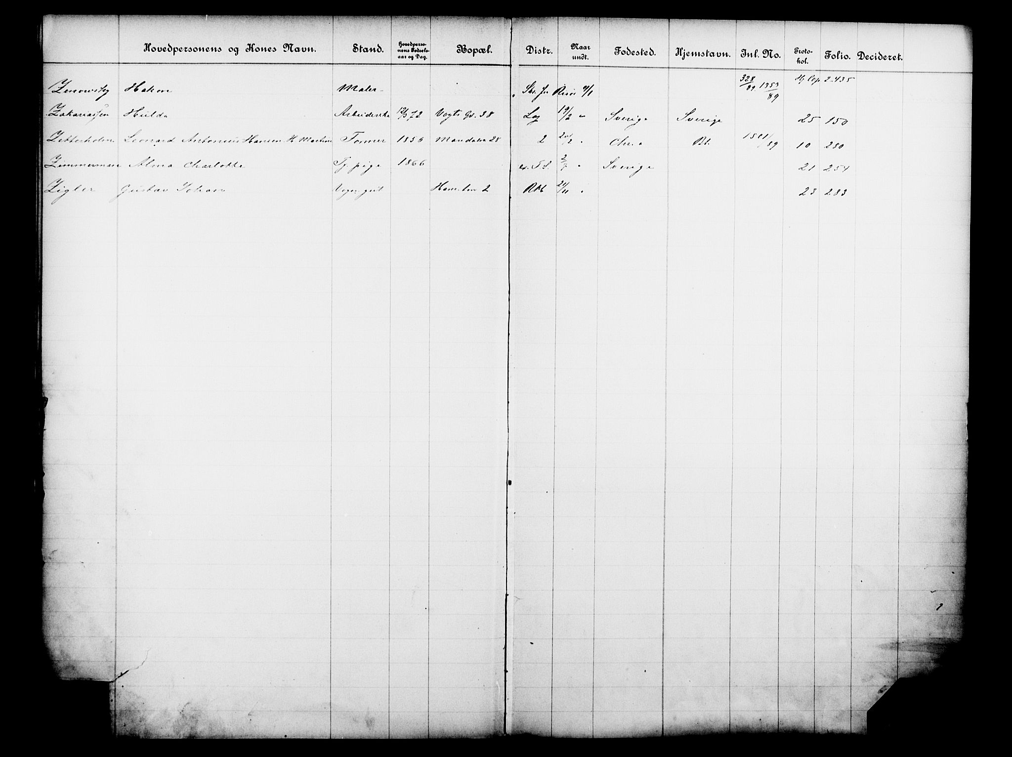OBA, Fattigvesenet, Fb/L0009: Hjemstavnsregister, 1889, s. 170