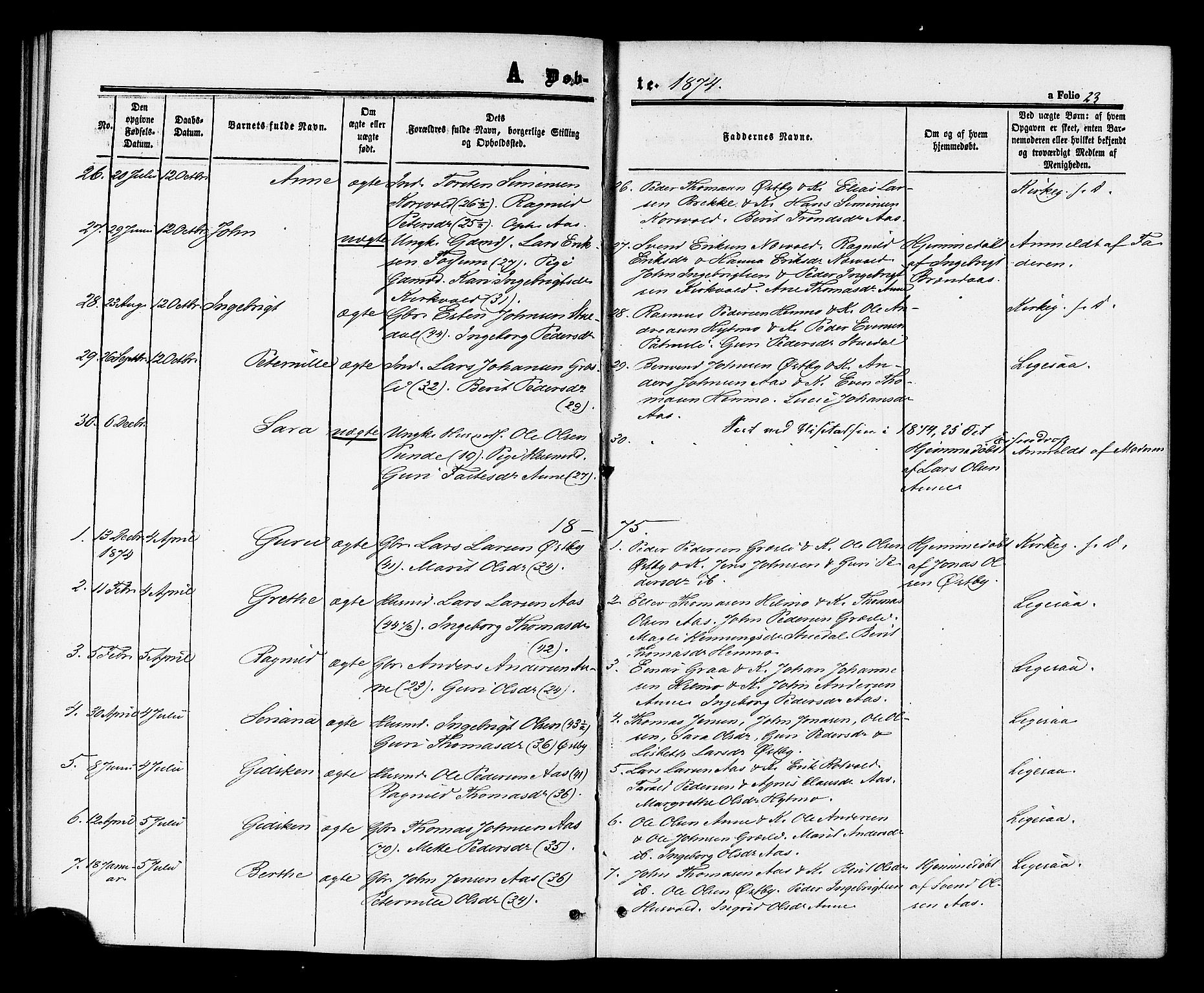 SAT, Ministerialprotokoller, klokkerbøker og fødselsregistre - Sør-Trøndelag, 698/L1163: Ministerialbok nr. 698A01, 1862-1887, s. 23