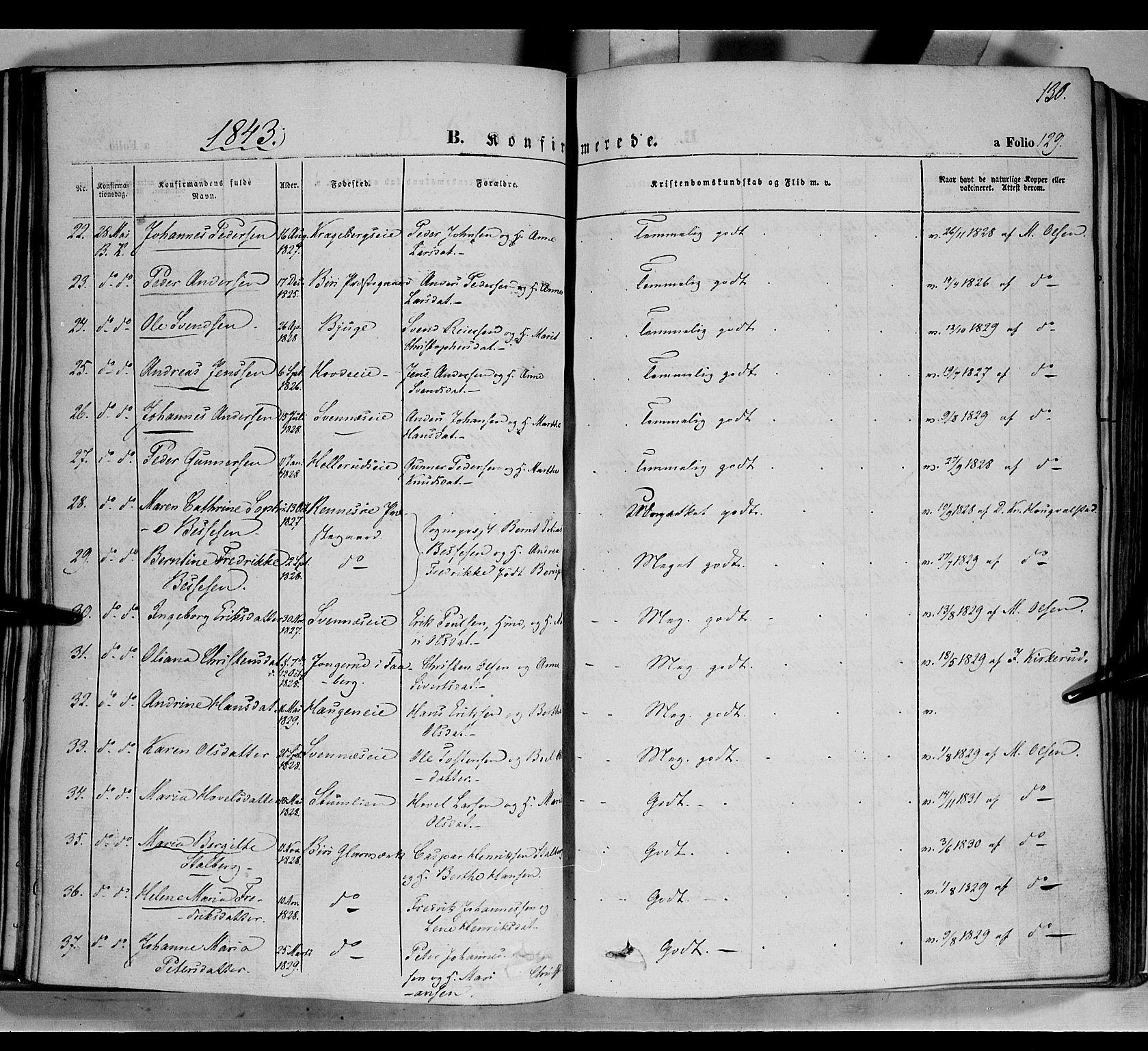 SAH, Biri prestekontor, Ministerialbok nr. 5, 1843-1854, s. 130