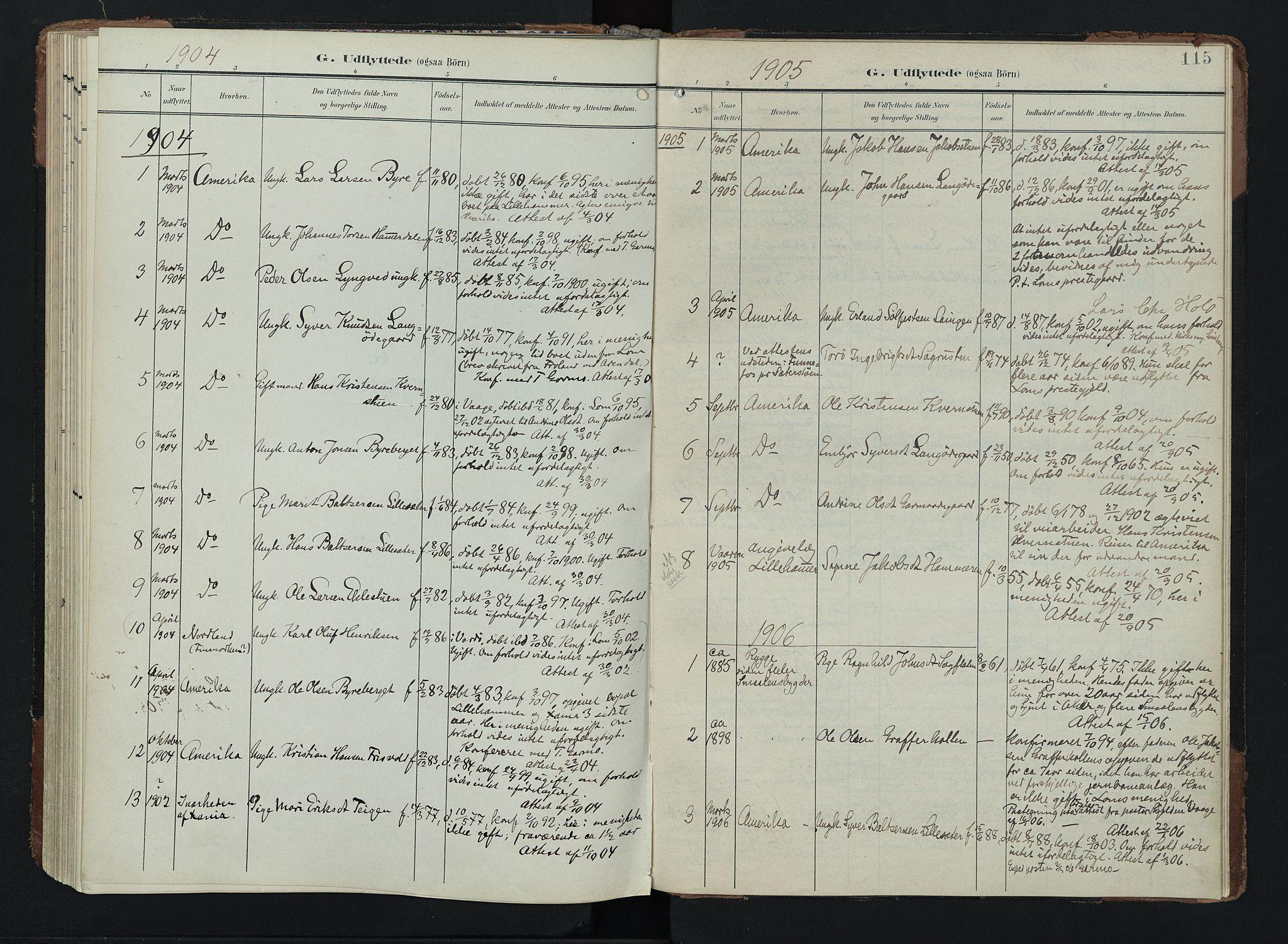 SAH, Lom prestekontor, K/L0011: Ministerialbok nr. 11, 1904-1928, s. 115