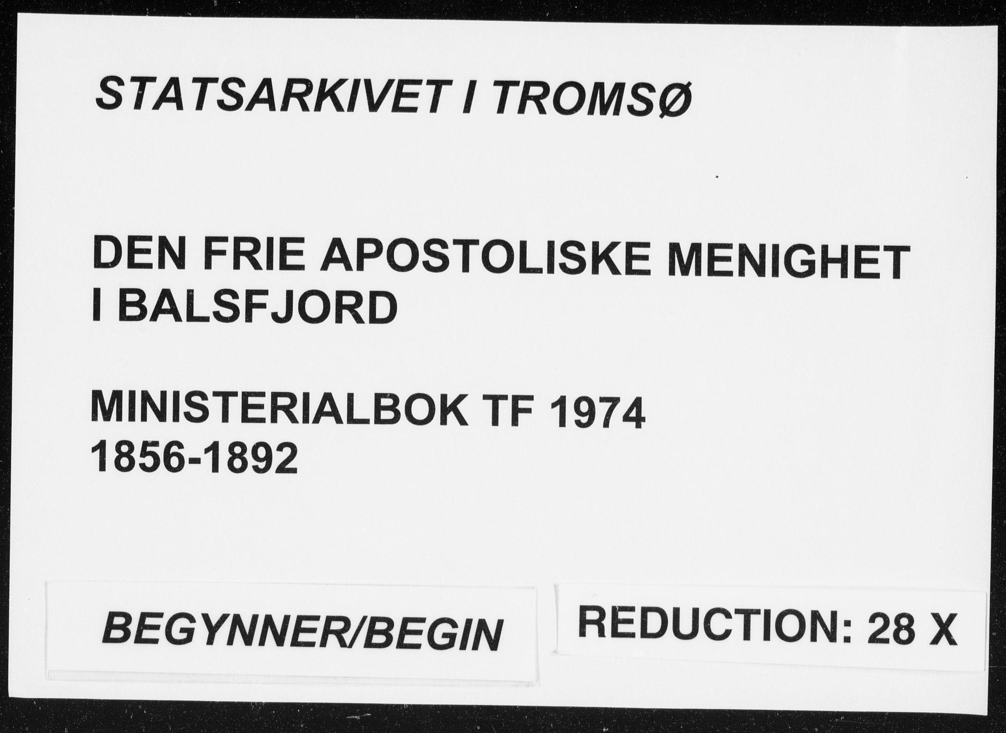 SATØ, Fylkesmannen i Troms, A7.10.1/L1974: Dissenterprotokoll nr. TF 1974, 1856-1892