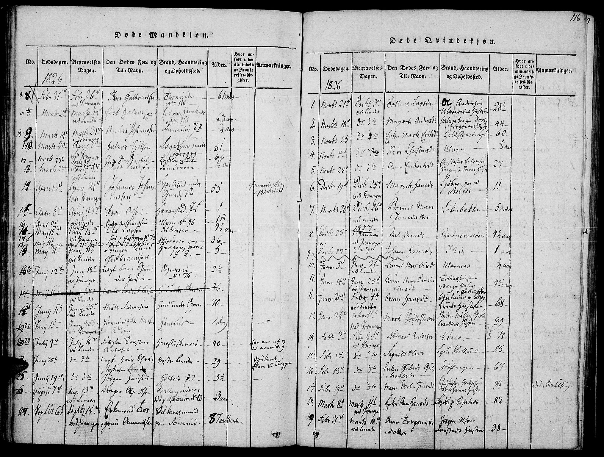 SAH, Jevnaker prestekontor, Ministerialbok nr. 5, 1815-1837, s. 116