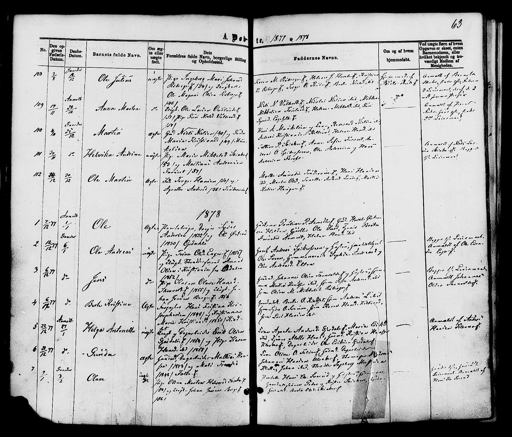 SAH, Nordre Land prestekontor, Ministerialbok nr. 2, 1872-1881, s. 63