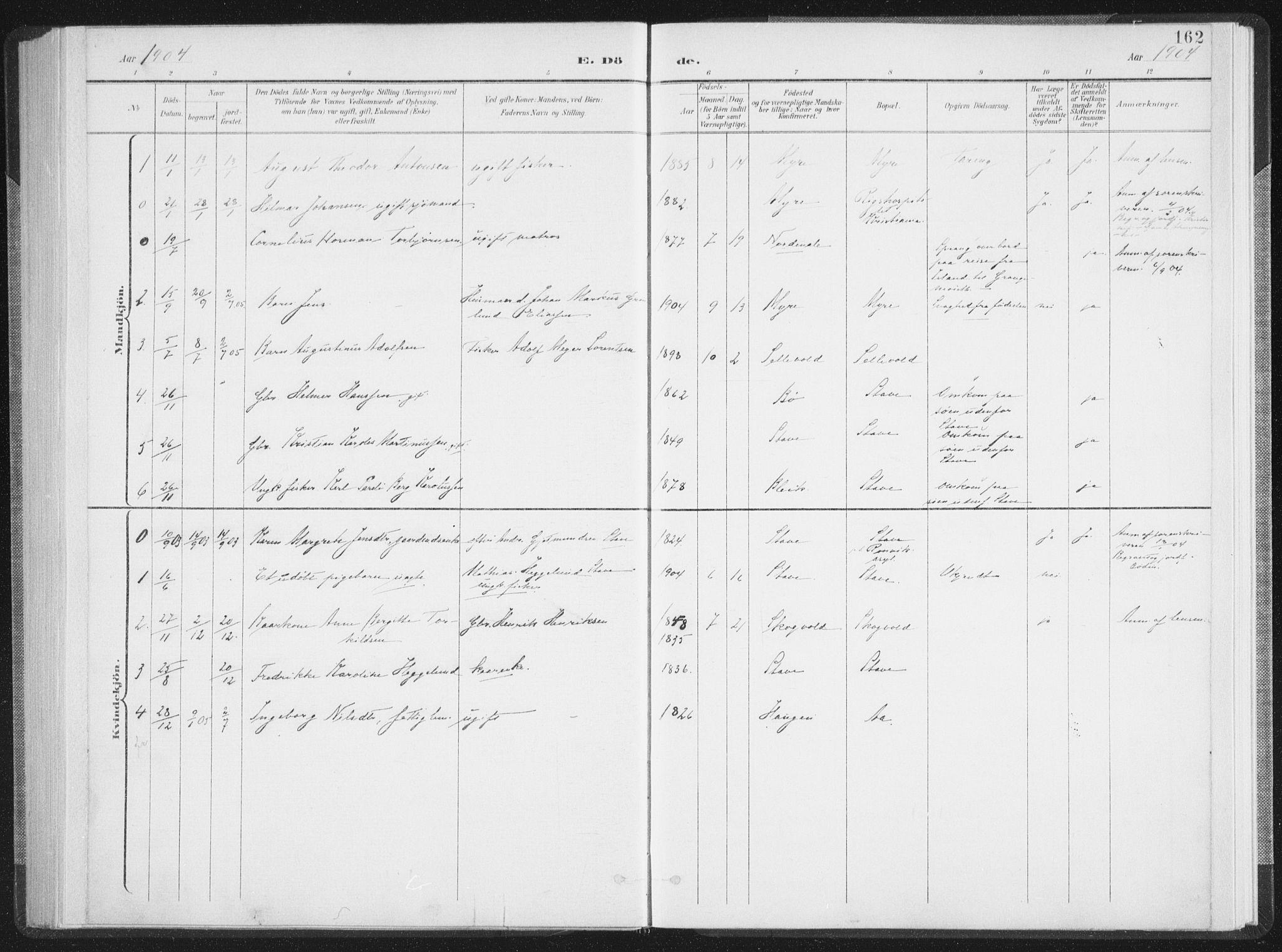 SAT, Ministerialprotokoller, klokkerbøker og fødselsregistre - Nordland, 897/L1400: Ministerialbok nr. 897A07, 1897-1908, s. 162