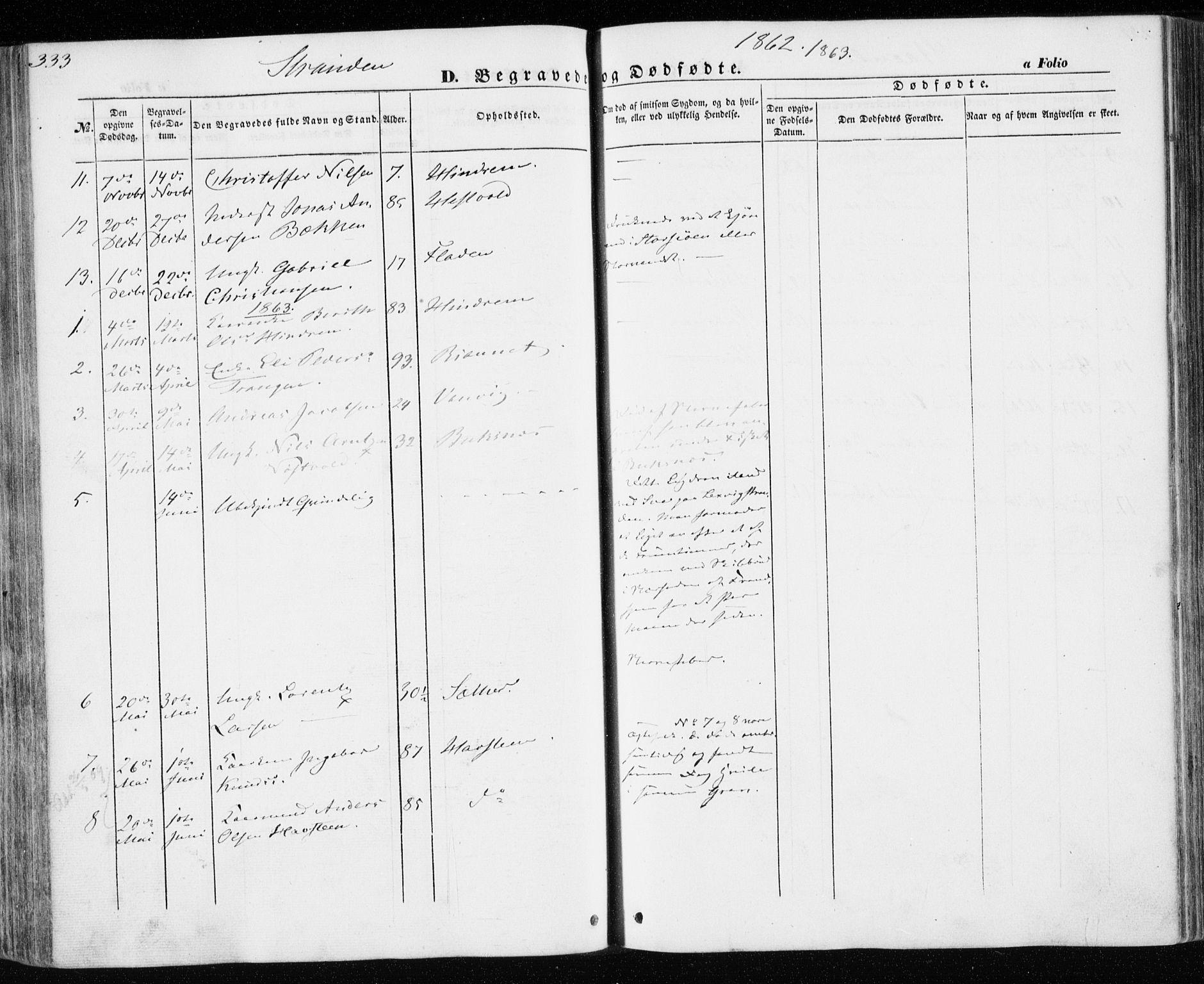 SAT, Ministerialprotokoller, klokkerbøker og fødselsregistre - Nord-Trøndelag, 701/L0008: Ministerialbok nr. 701A08 /2, 1854-1863, s. 333