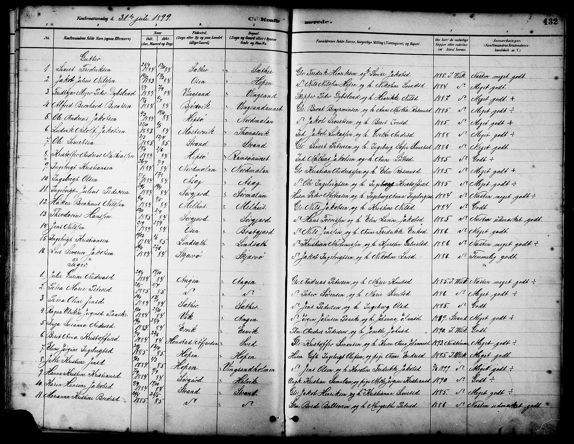 SAT, Ministerialprotokoller, klokkerbøker og fødselsregistre - Sør-Trøndelag, 658/L0726: Klokkerbok nr. 658C02, 1883-1908, s. 132