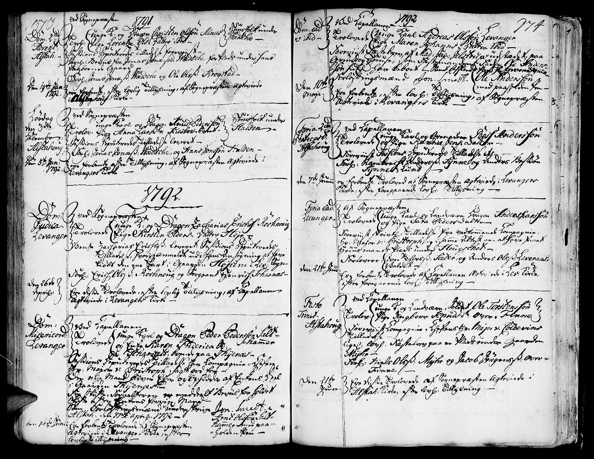 SAT, Ministerialprotokoller, klokkerbøker og fødselsregistre - Nord-Trøndelag, 717/L0141: Ministerialbok nr. 717A01, 1747-1803, s. 373-374