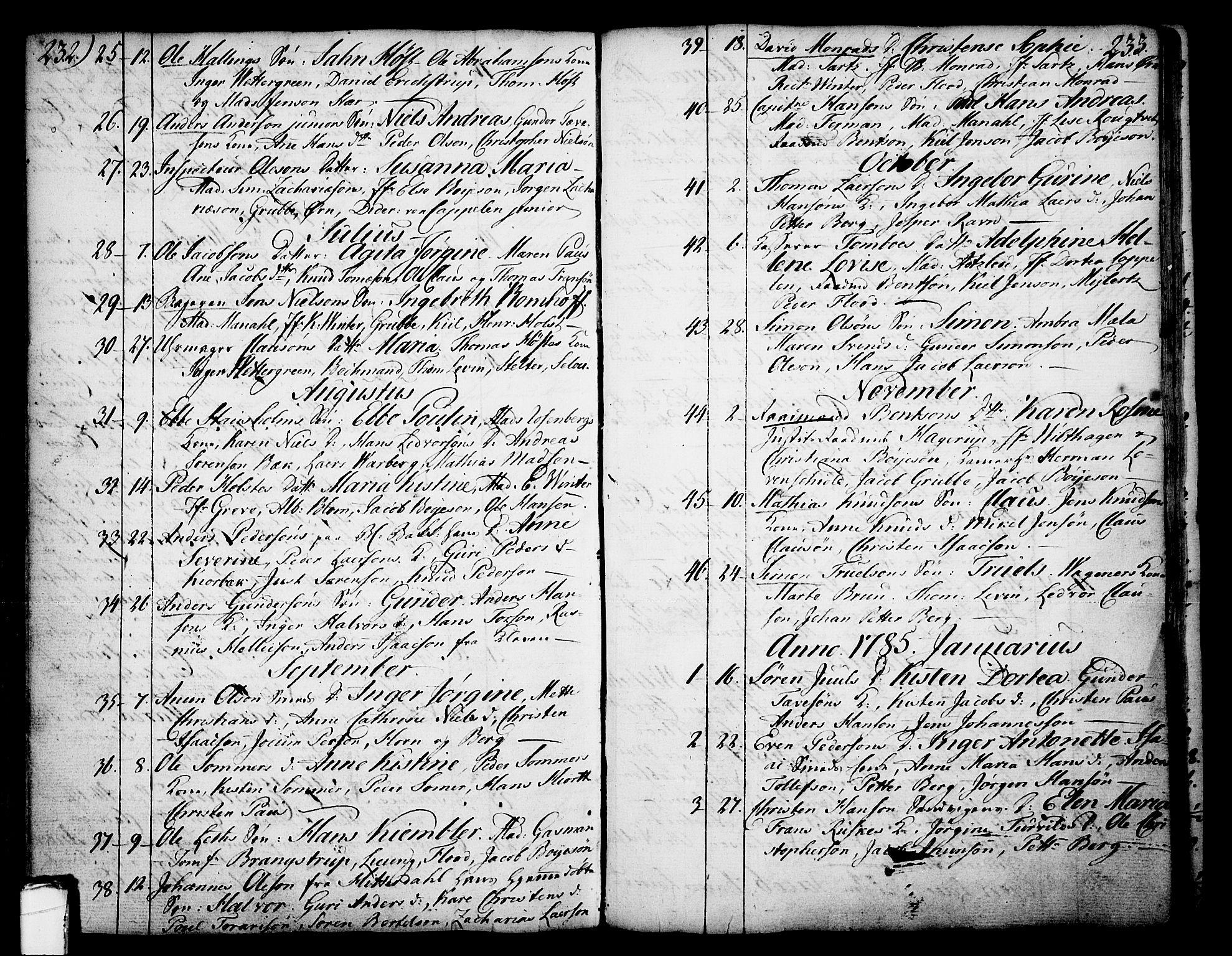 SAKO, Skien kirkebøker, F/Fa/L0003: Ministerialbok nr. 3, 1755-1791, s. 232-233