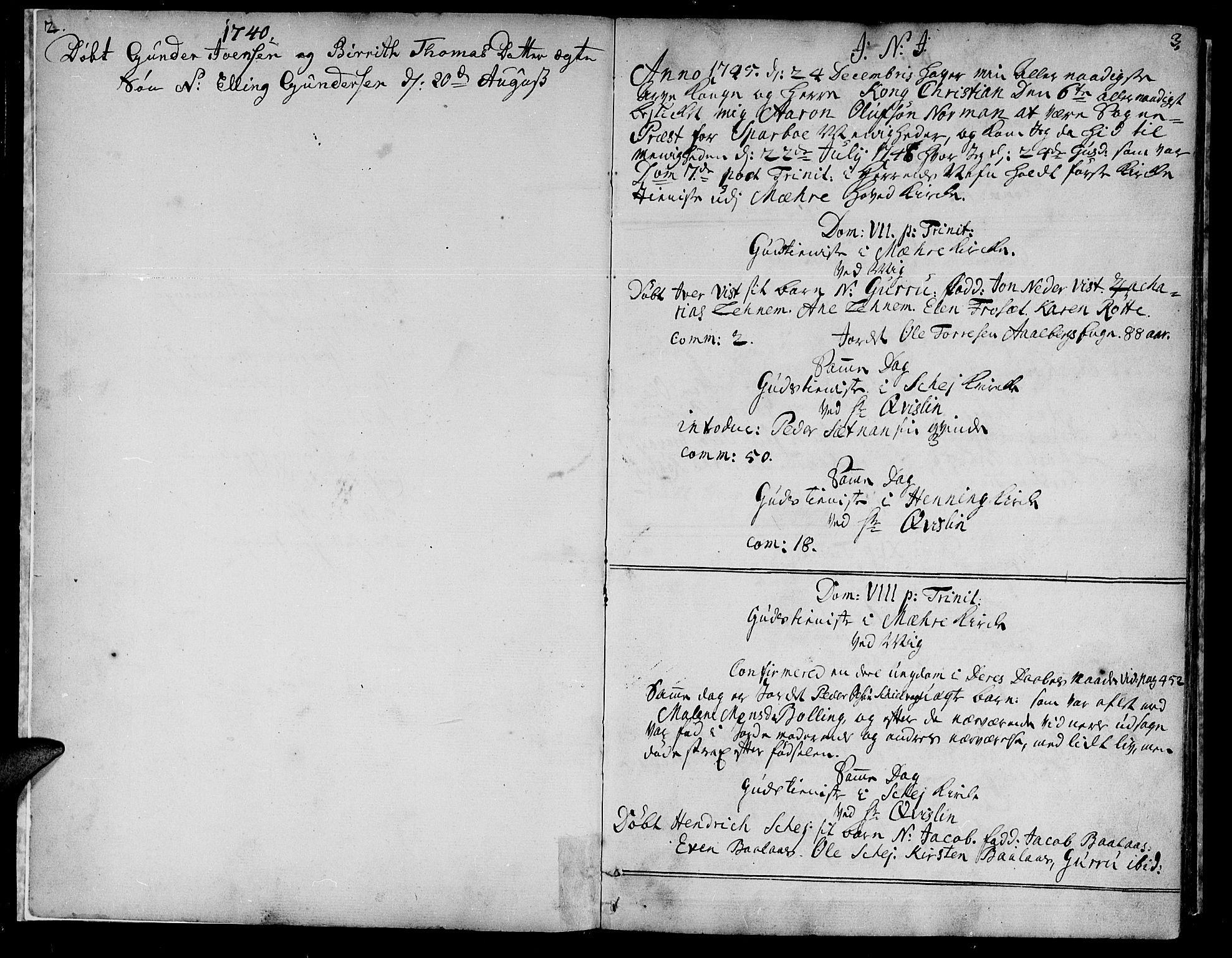SAT, Ministerialprotokoller, klokkerbøker og fødselsregistre - Nord-Trøndelag, 735/L0330: Ministerialbok nr. 735A01, 1740-1766, s. 2-3