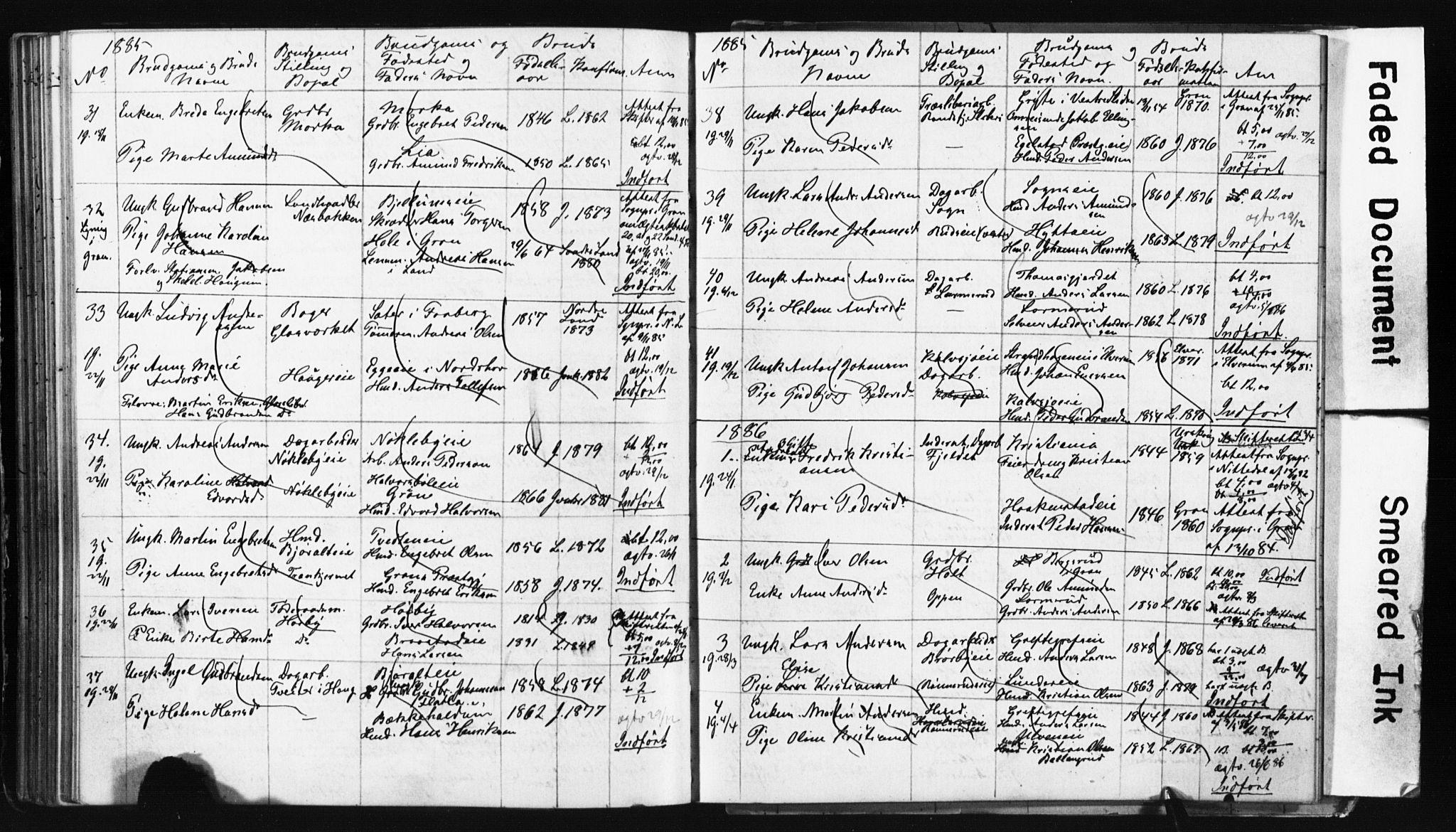 SAH, Jevnaker prestekontor, Lysningsprotokoll nr. 2, 1867-1897