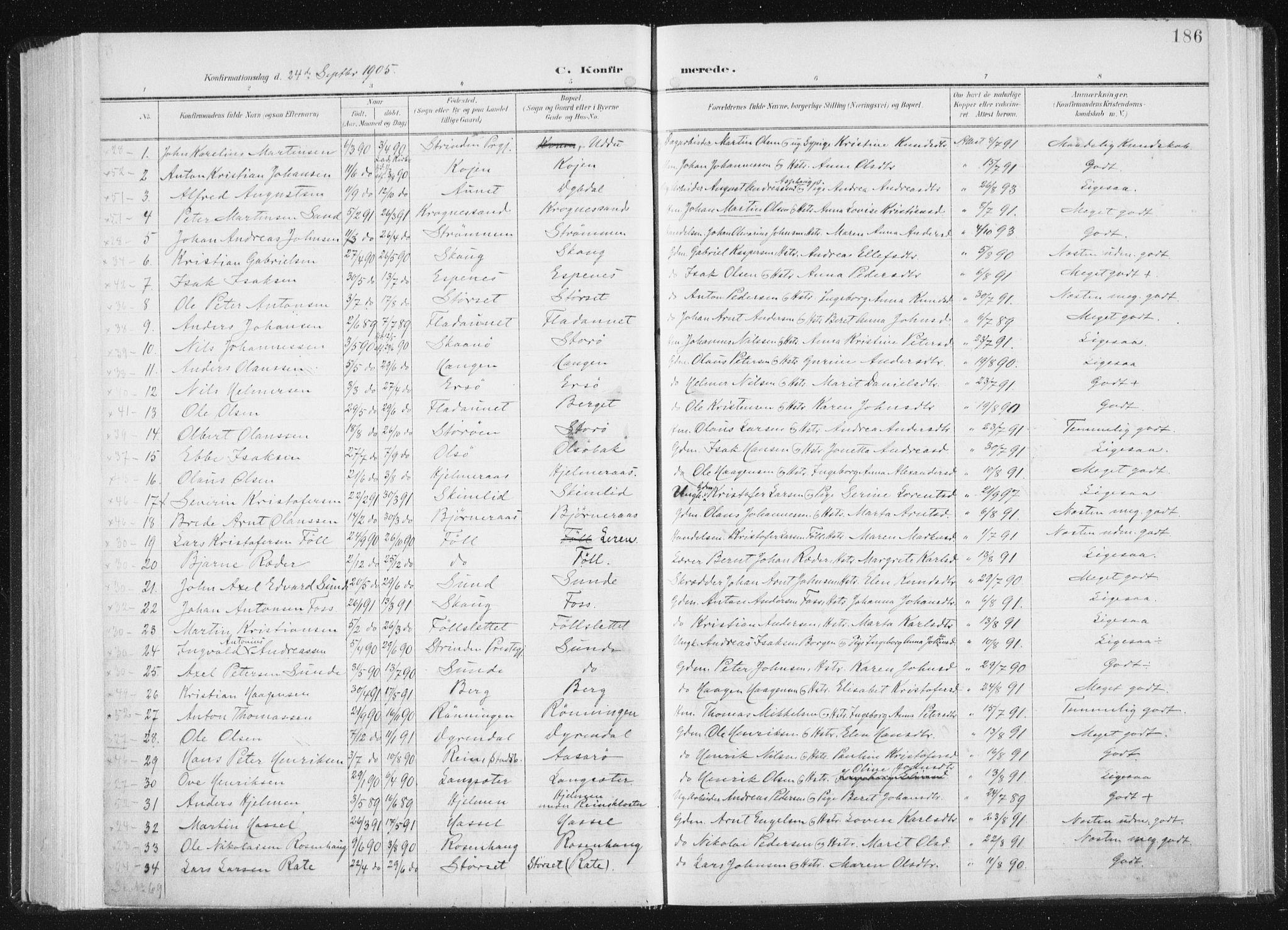 SAT, Ministerialprotokoller, klokkerbøker og fødselsregistre - Sør-Trøndelag, 647/L0635: Ministerialbok nr. 647A02, 1896-1911, s. 186