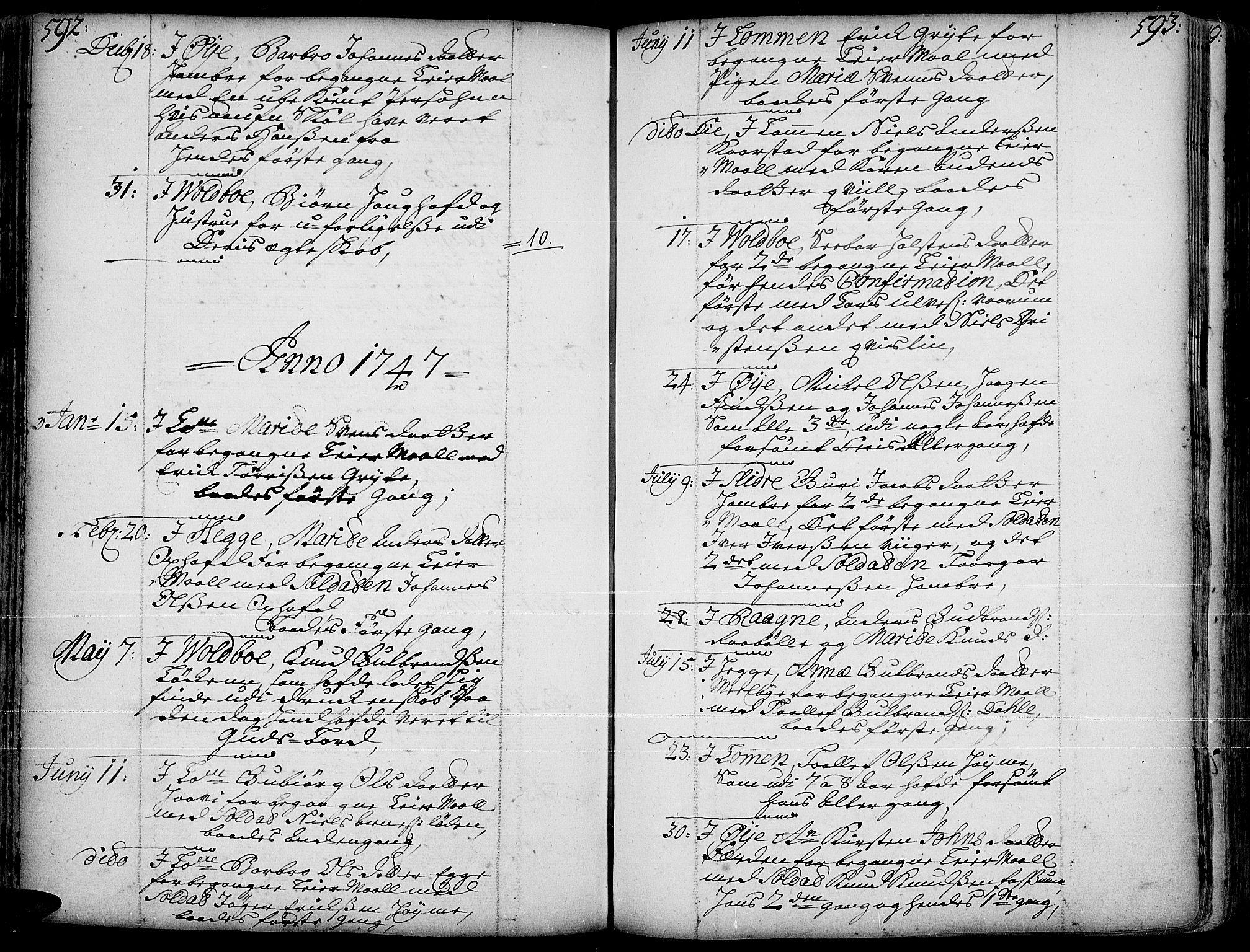 SAH, Slidre prestekontor, Ministerialbok nr. 1, 1724-1814, s. 592-593