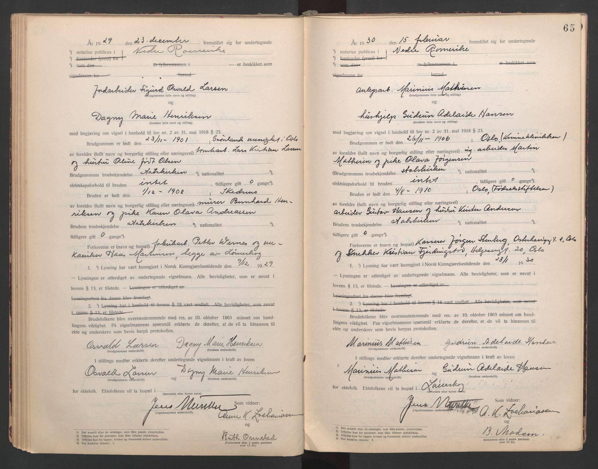 SAO, Nedre Romerike sorenskriveri, L/Lb/L0001: Vigselsbok - borgerlige vielser, 1920-1935, s. 65