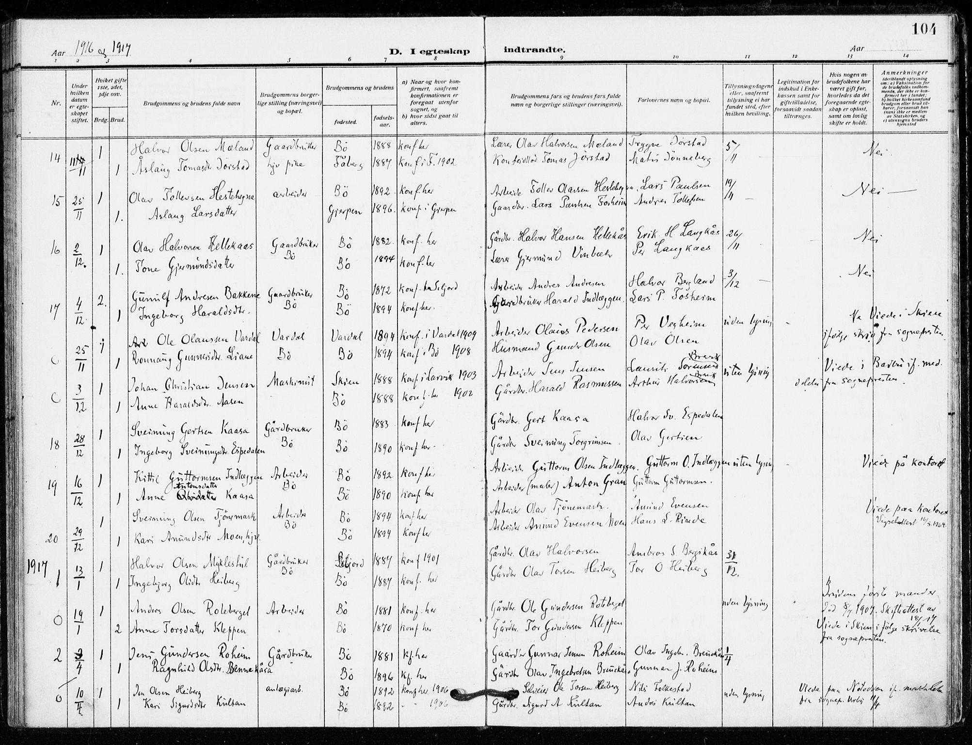SAKO, Bø kirkebøker, F/Fa/L0013: Ministerialbok nr. 13, 1909-1921, s. 104
