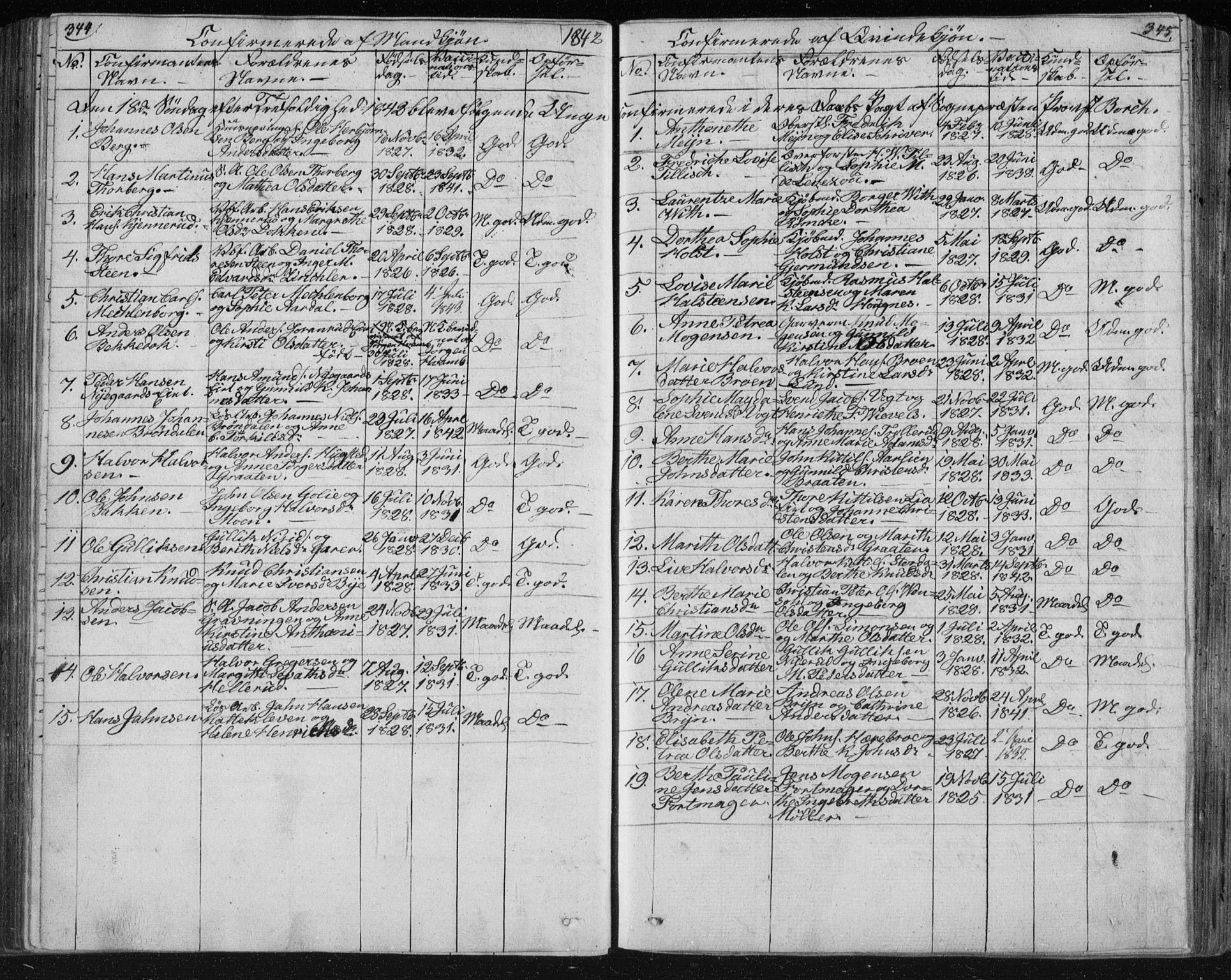 SAKO, Kongsberg kirkebøker, F/Fa/L0009: Ministerialbok nr. I 9, 1839-1858, s. 344-345