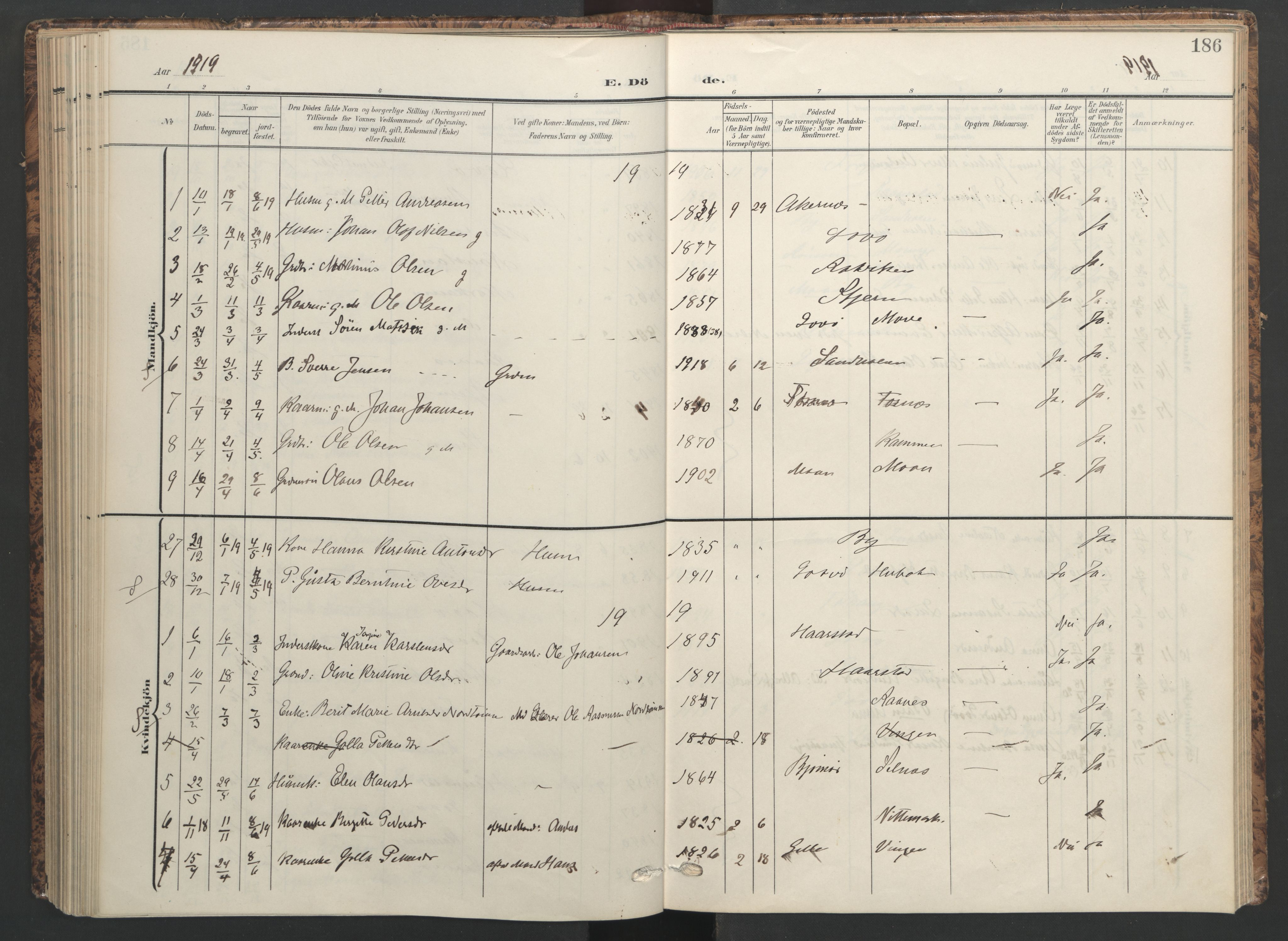 SAT, Ministerialprotokoller, klokkerbøker og fødselsregistre - Sør-Trøndelag, 655/L0682: Ministerialbok nr. 655A11, 1908-1922, s. 186