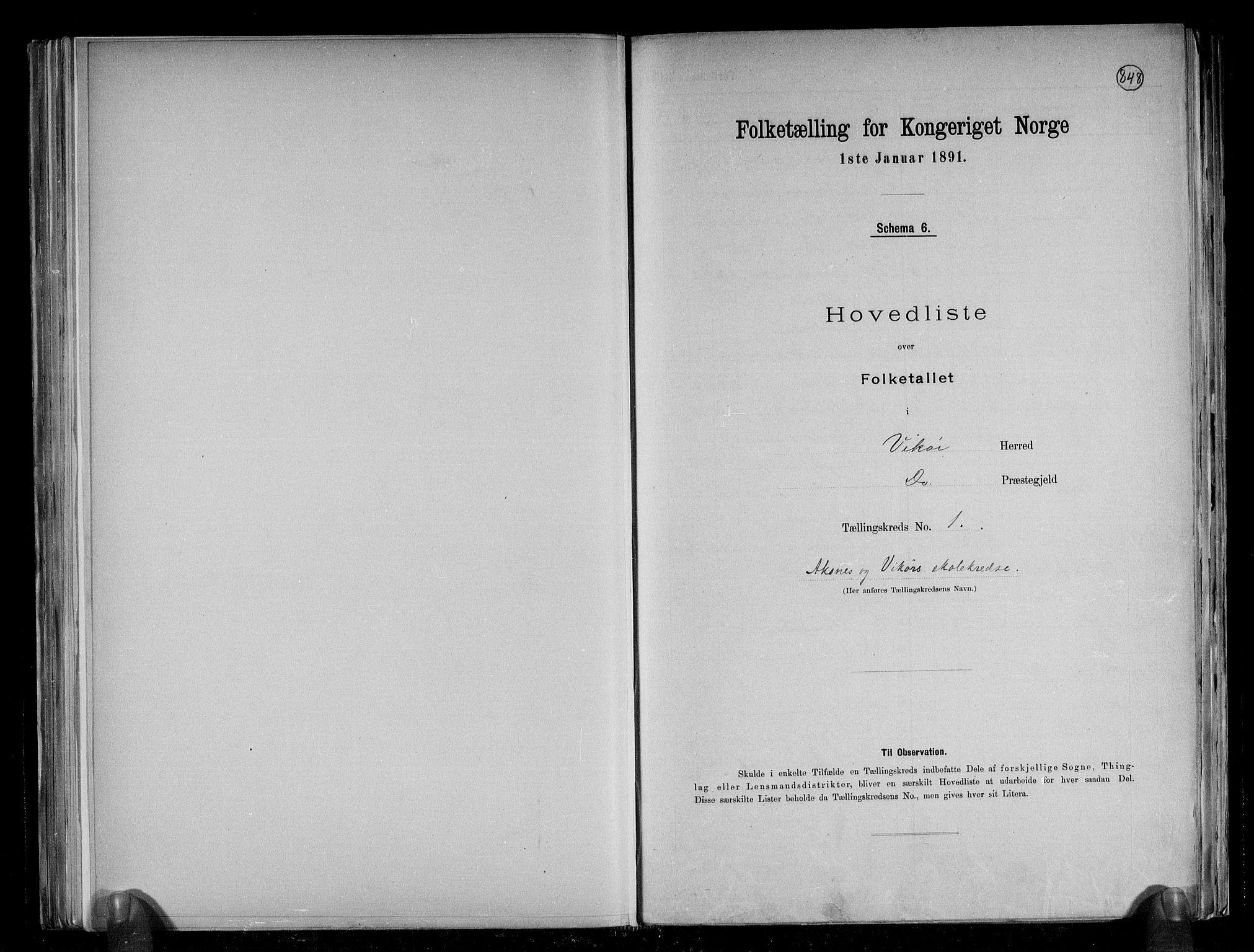 RA, Folketelling 1891 for 1238 Vikør herred, 1891, s. 5