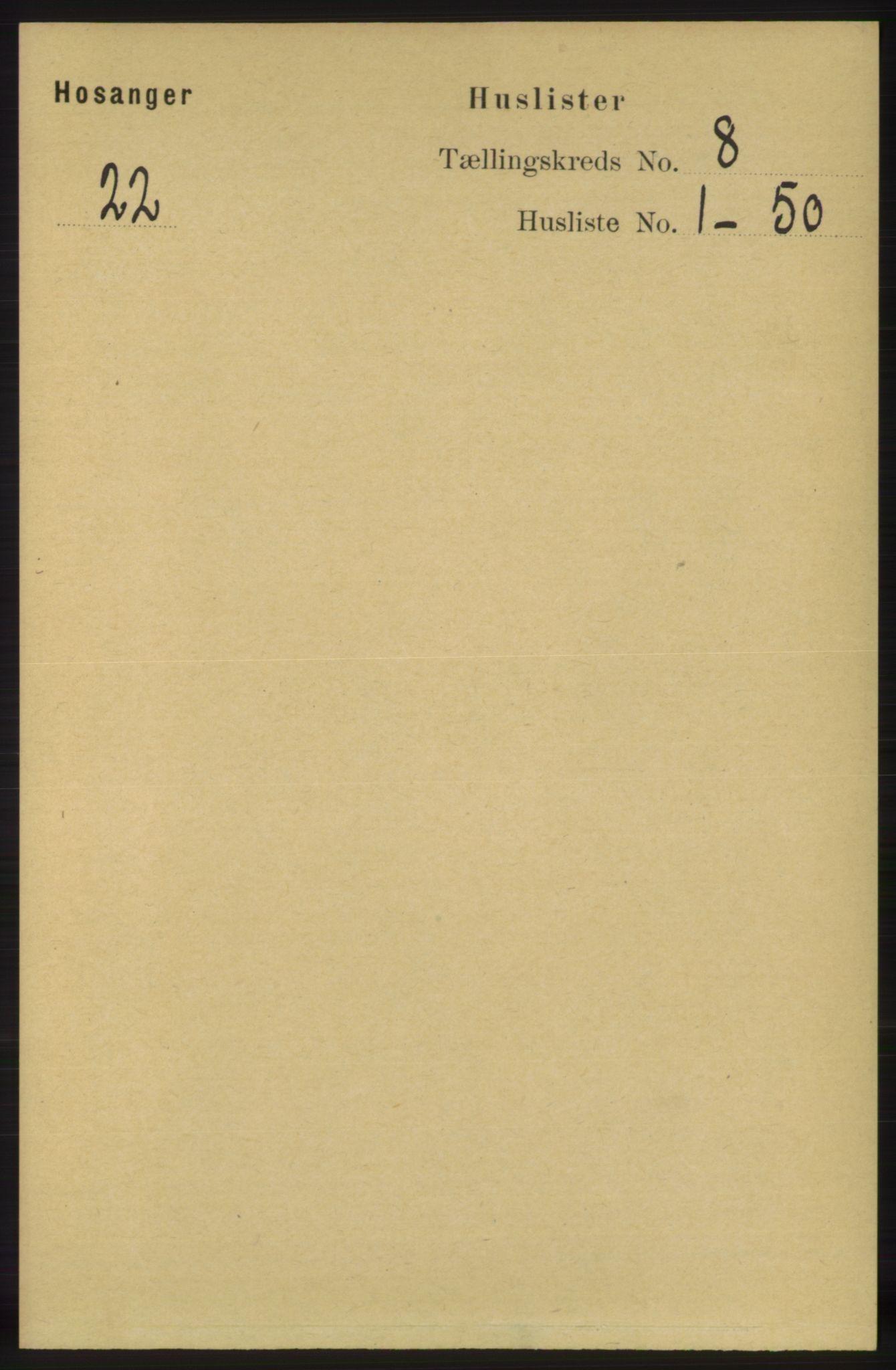 RA, Folketelling 1891 for 1253 Hosanger herred, 1891, s. 2900