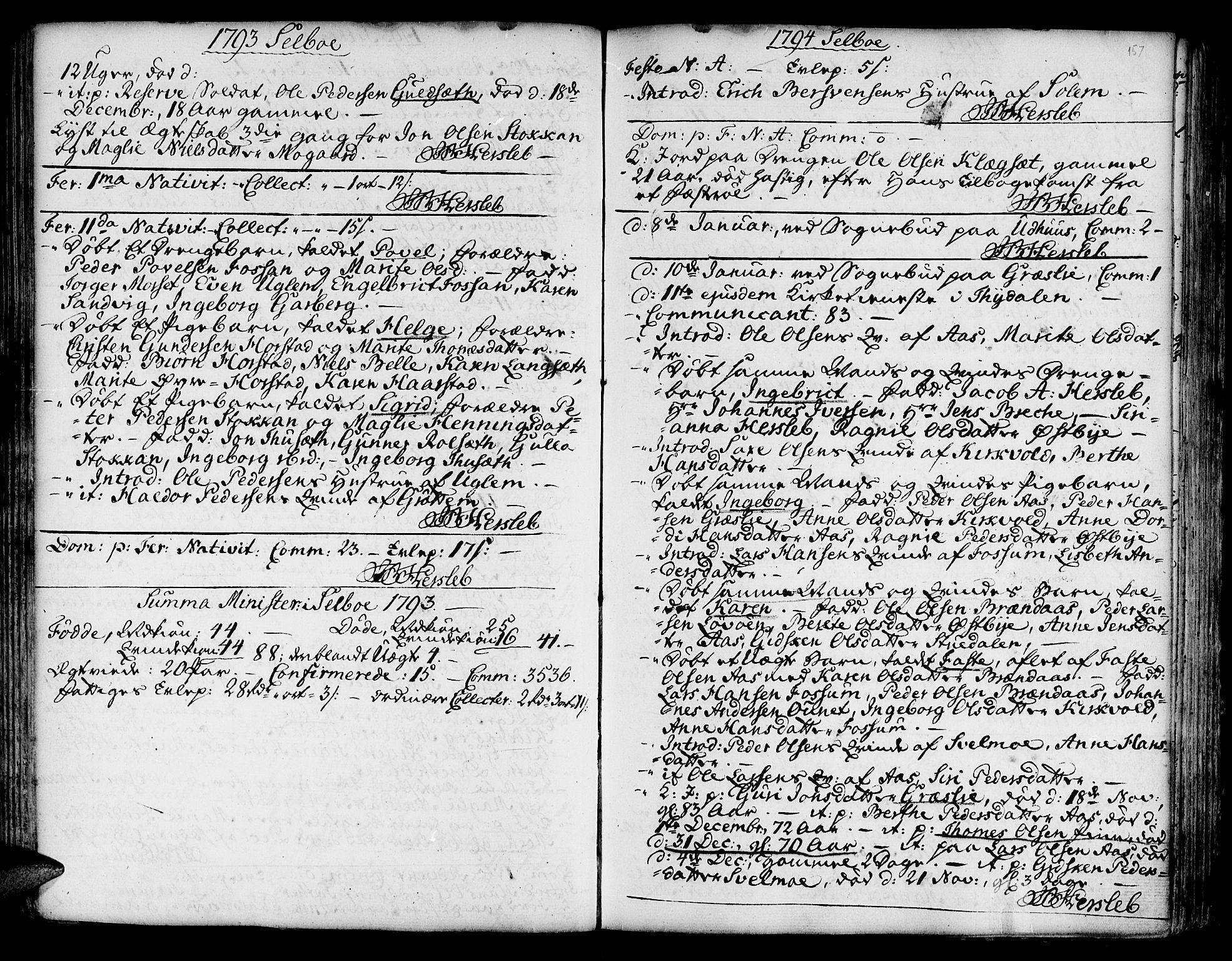 SAT, Ministerialprotokoller, klokkerbøker og fødselsregistre - Sør-Trøndelag, 695/L1138: Ministerialbok nr. 695A02 /1, 1757-1801, s. 157