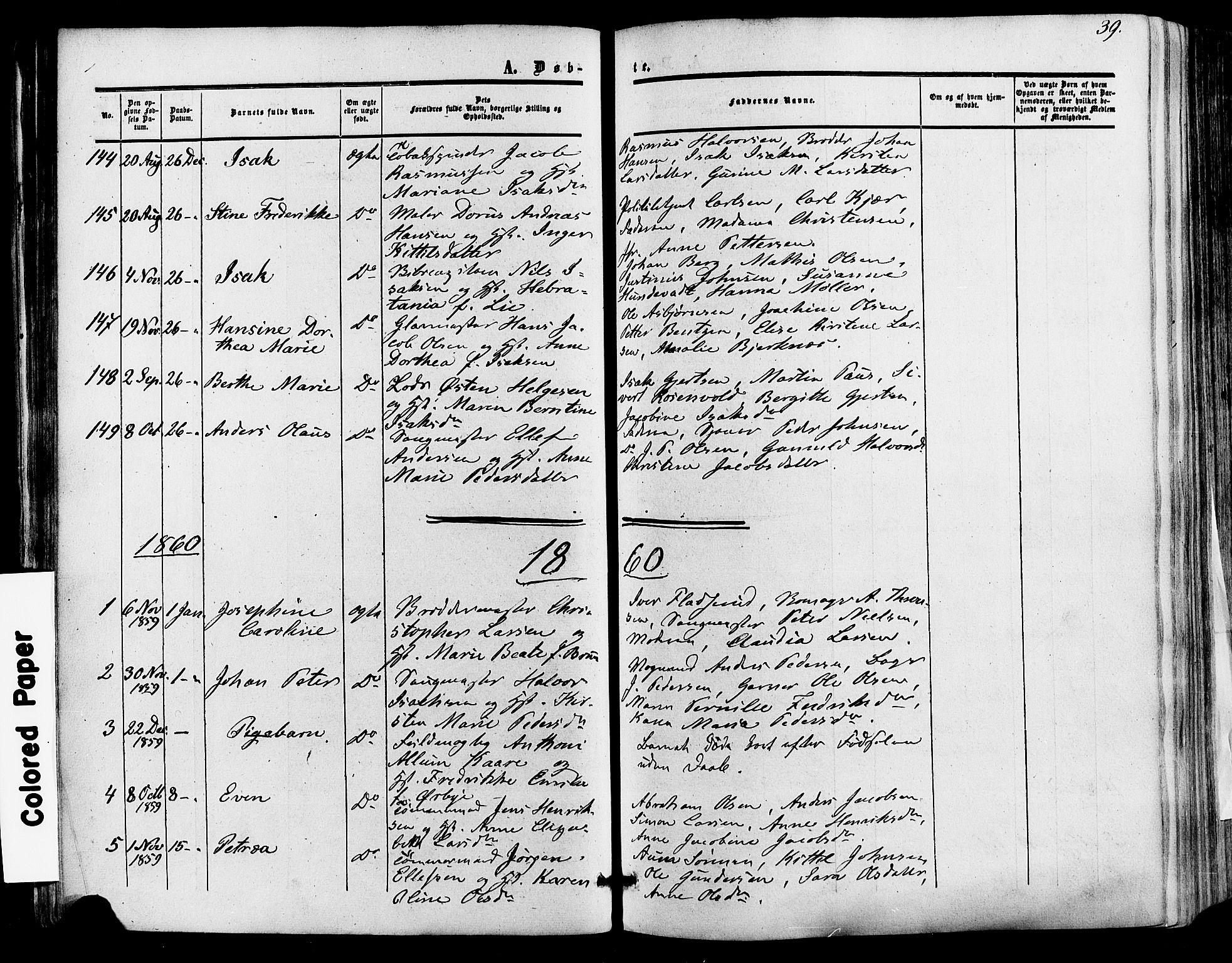 SAKO, Skien kirkebøker, F/Fa/L0007: Ministerialbok nr. 7, 1856-1865, s. 39
