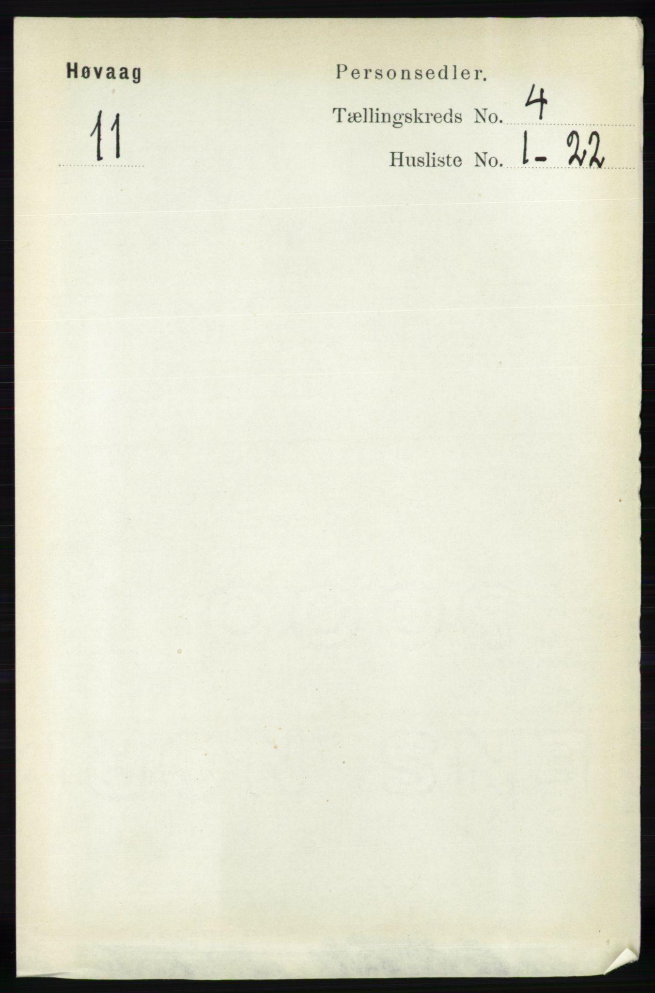 RA, Folketelling 1891 for 0927 Høvåg herred, 1891, s. 1508