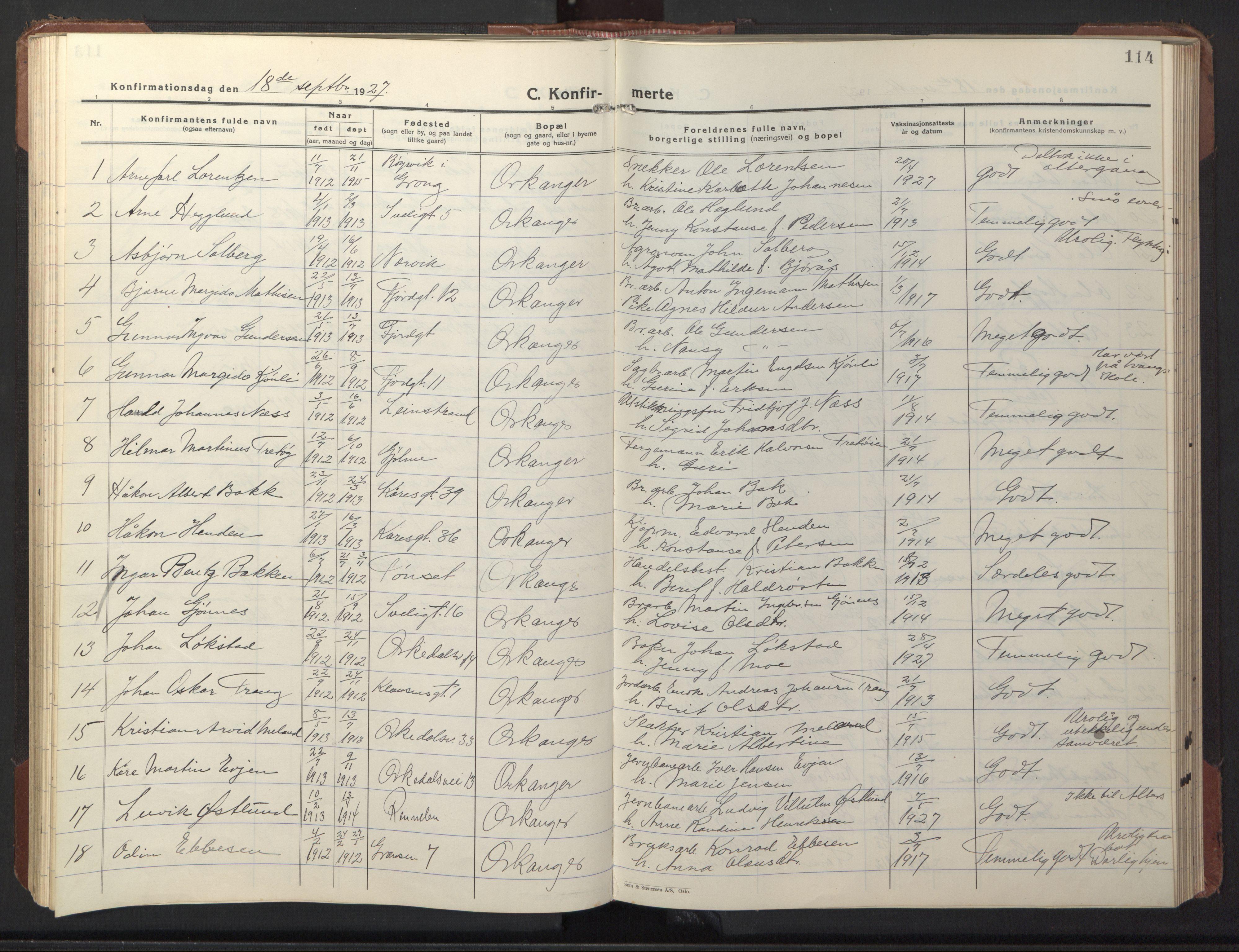 SAT, Ministerialprotokoller, klokkerbøker og fødselsregistre - Sør-Trøndelag, 669/L0832: Klokkerbok nr. 669C02, 1925-1953, s. 114