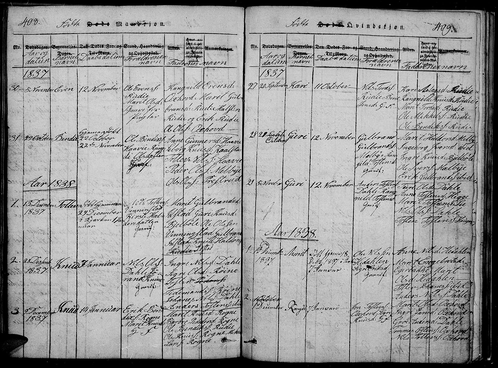 SAH, Slidre prestekontor, Klokkerbok nr. 2, 1814-1839, s. 408-409