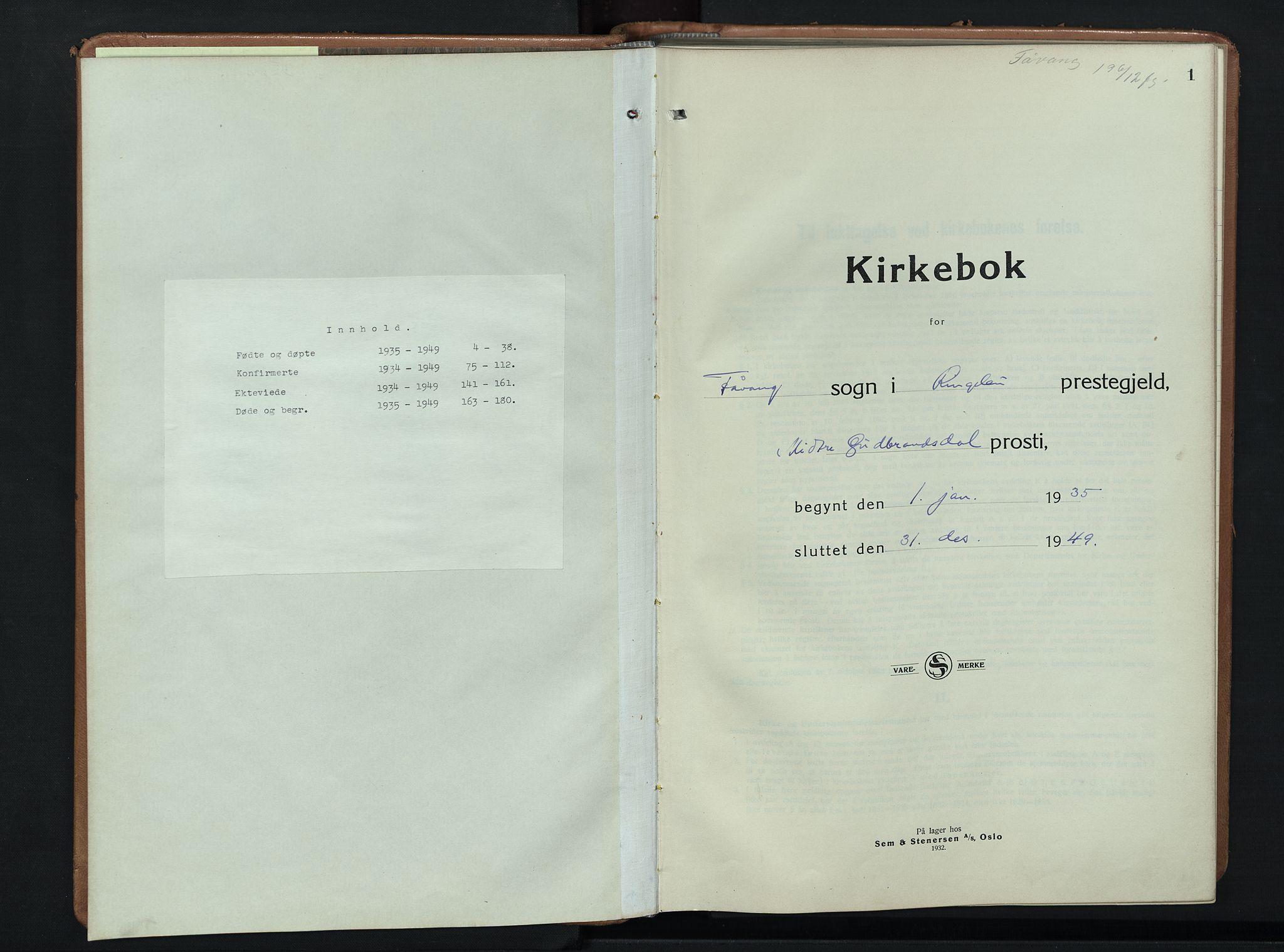 SAH, Ringebu prestekontor, Klokkerbok nr. 12, 1934-1949, s. 1