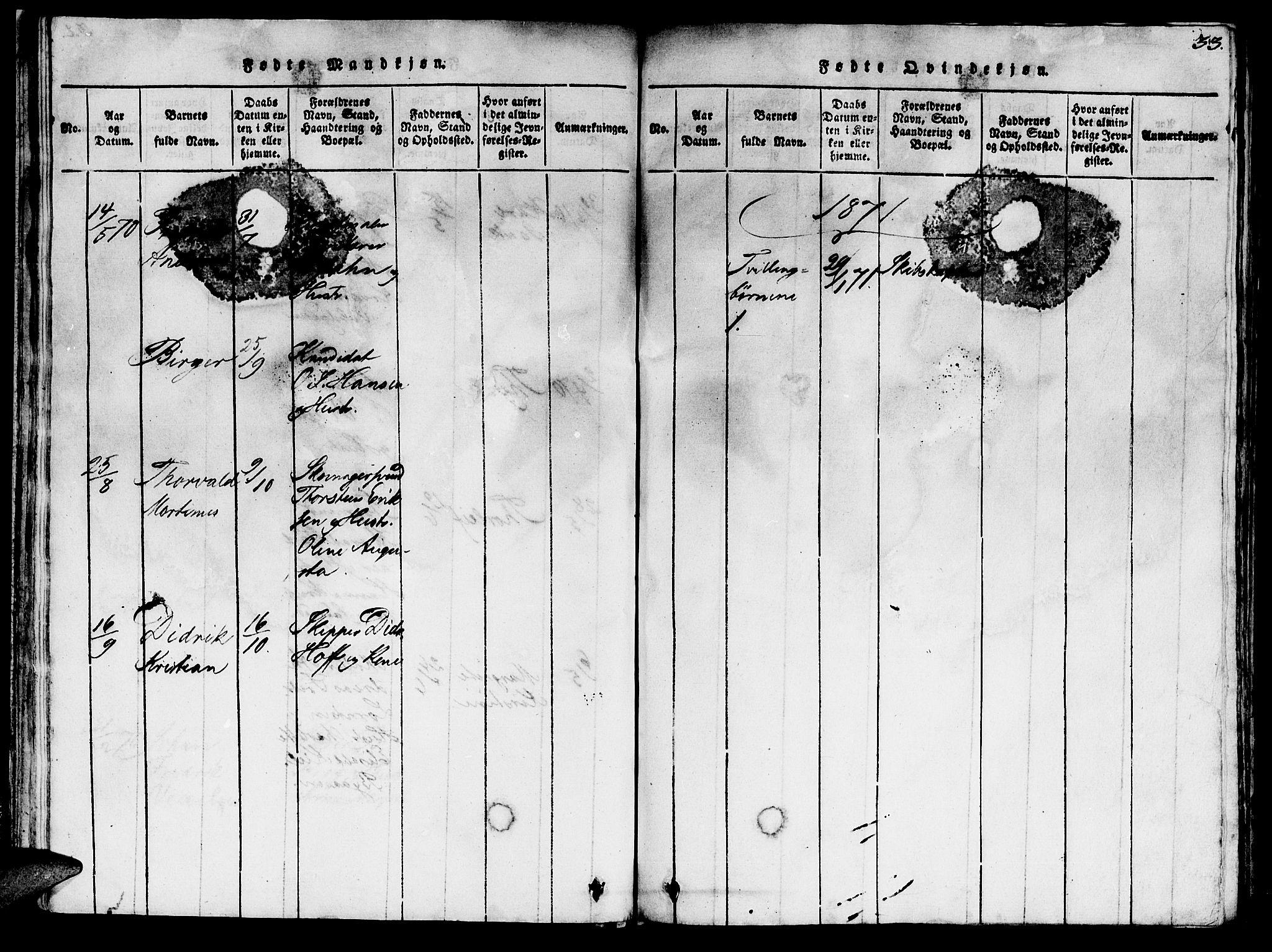SAT, Ministerialprotokoller, klokkerbøker og fødselsregistre - Sør-Trøndelag, 623/L0478: Klokkerbok nr. 623C01, 1815-1873, s. 33