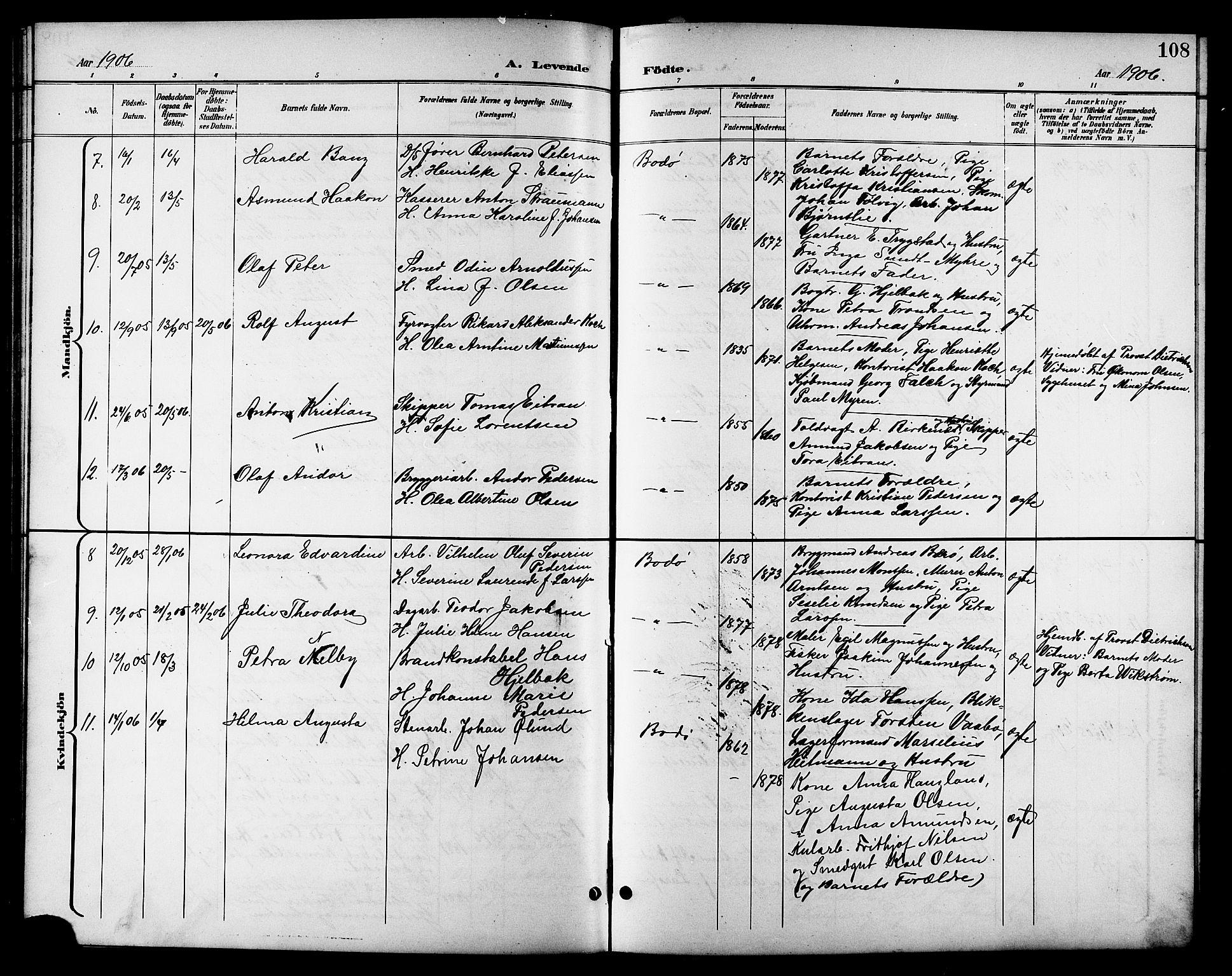 SAT, Ministerialprotokoller, klokkerbøker og fødselsregistre - Nordland, 801/L0033: Klokkerbok nr. 801C08, 1898-1910, s. 108