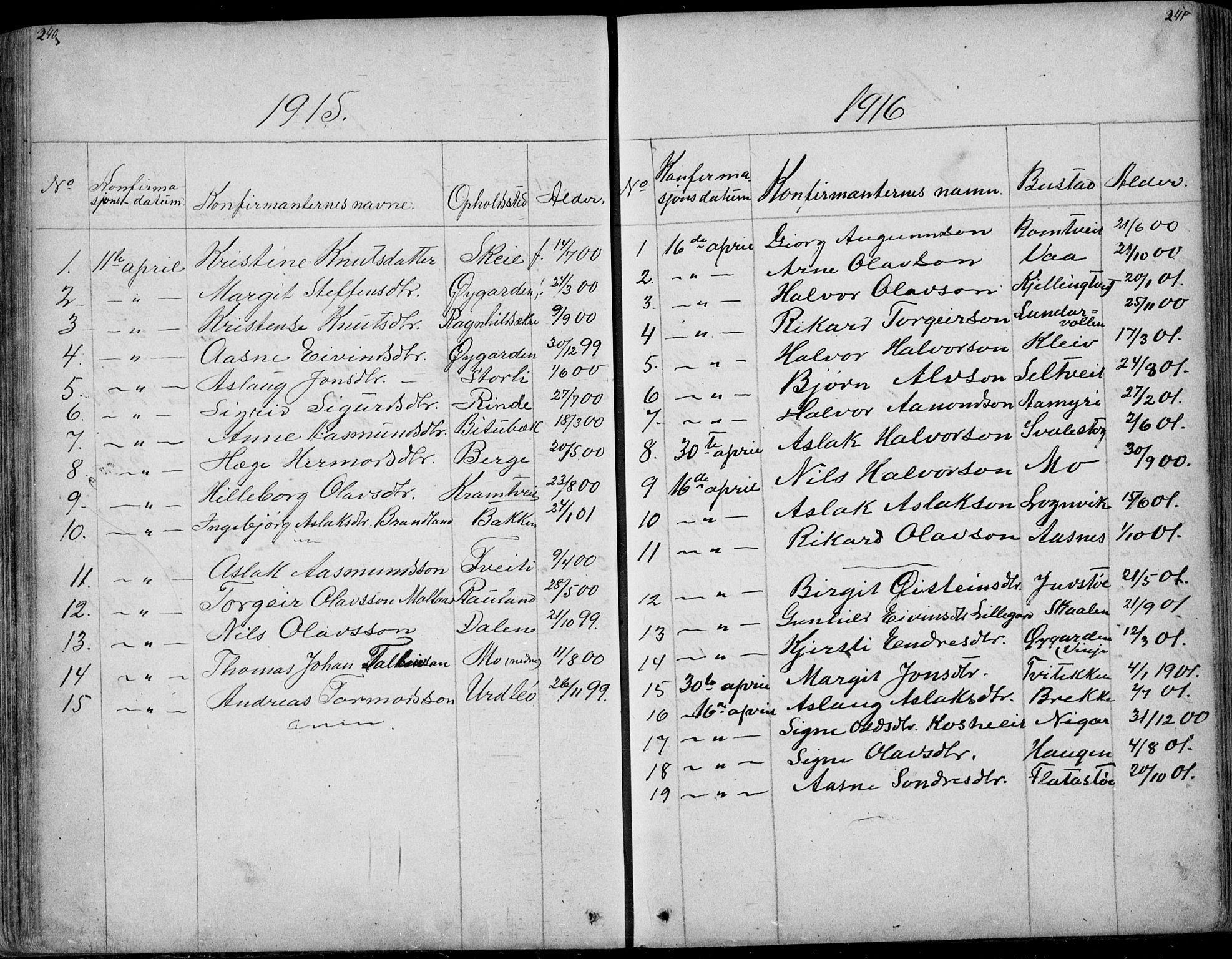 SAKO, Rauland kirkebøker, G/Ga/L0002: Klokkerbok nr. I 2, 1849-1935, s. 240-241