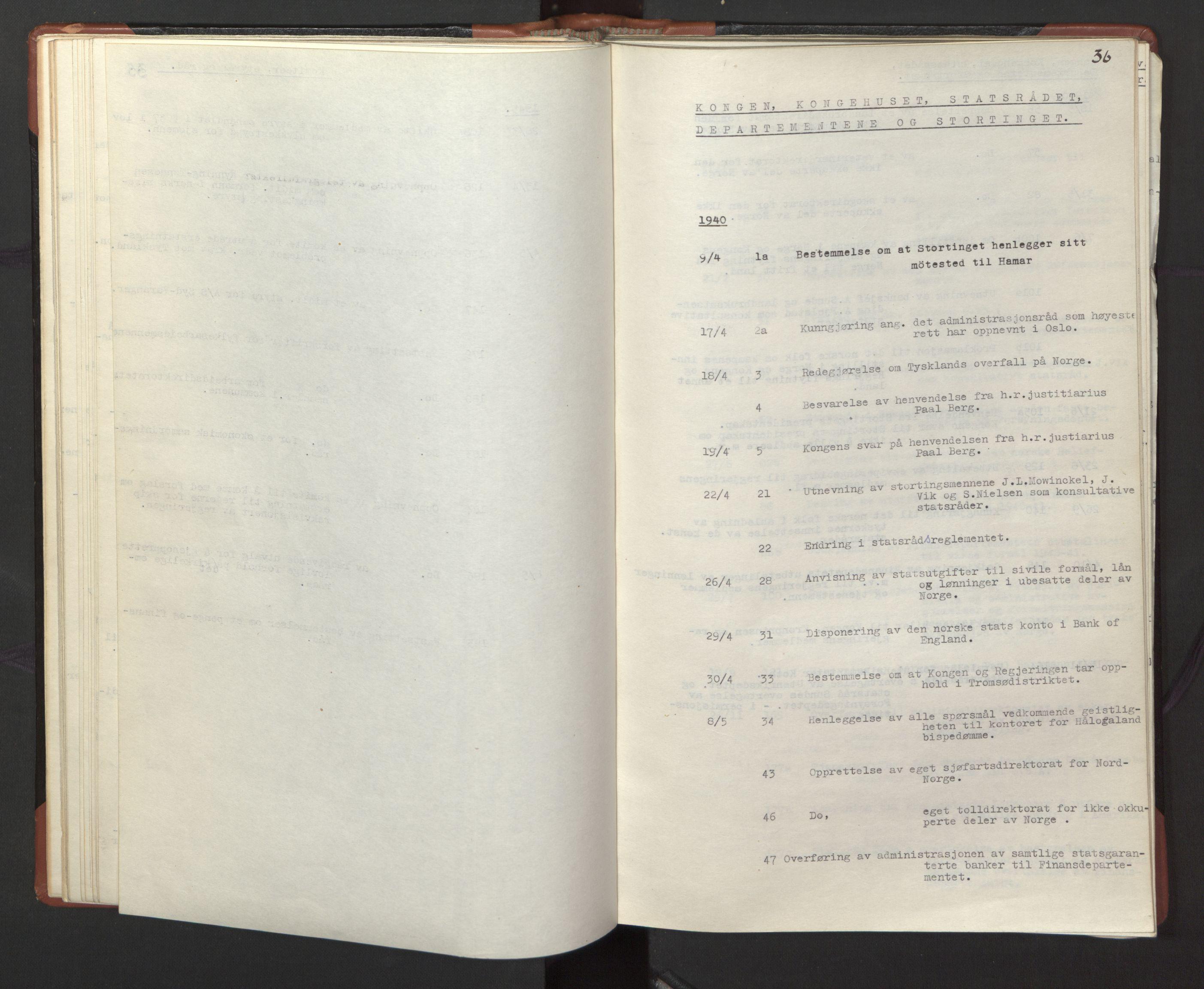 RA, Statsrådssekretariatet, A/Ac/L0127: Register 9/4-25/5, 1940-1945, s. 36