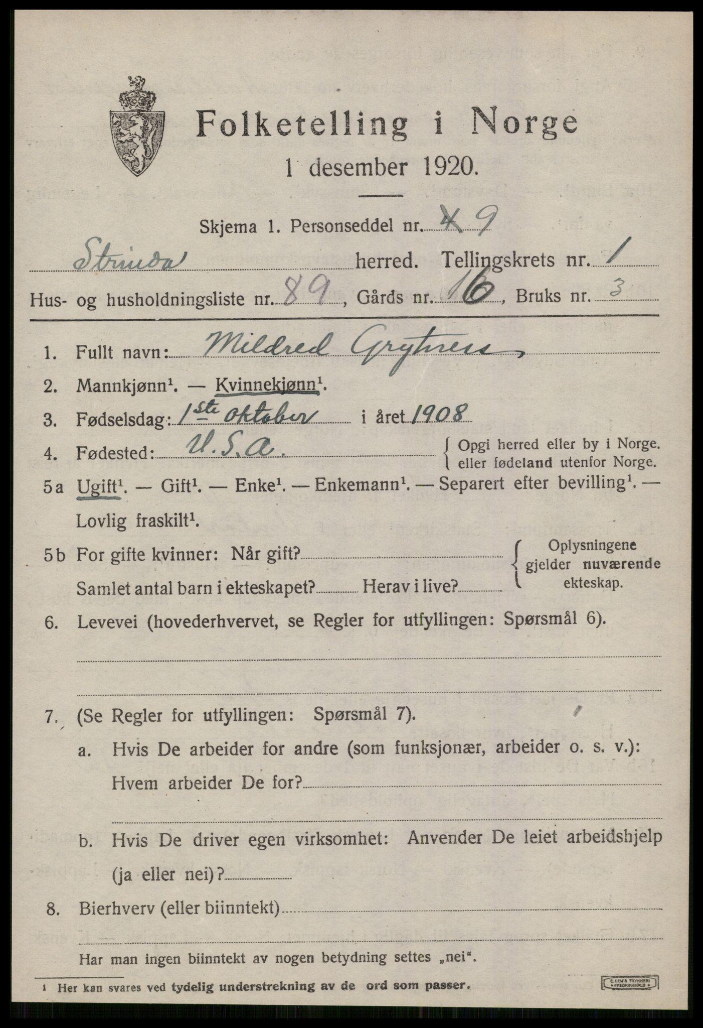 SAT, Folketelling 1920 for 1660 Strinda herred, 1920, s. 5642