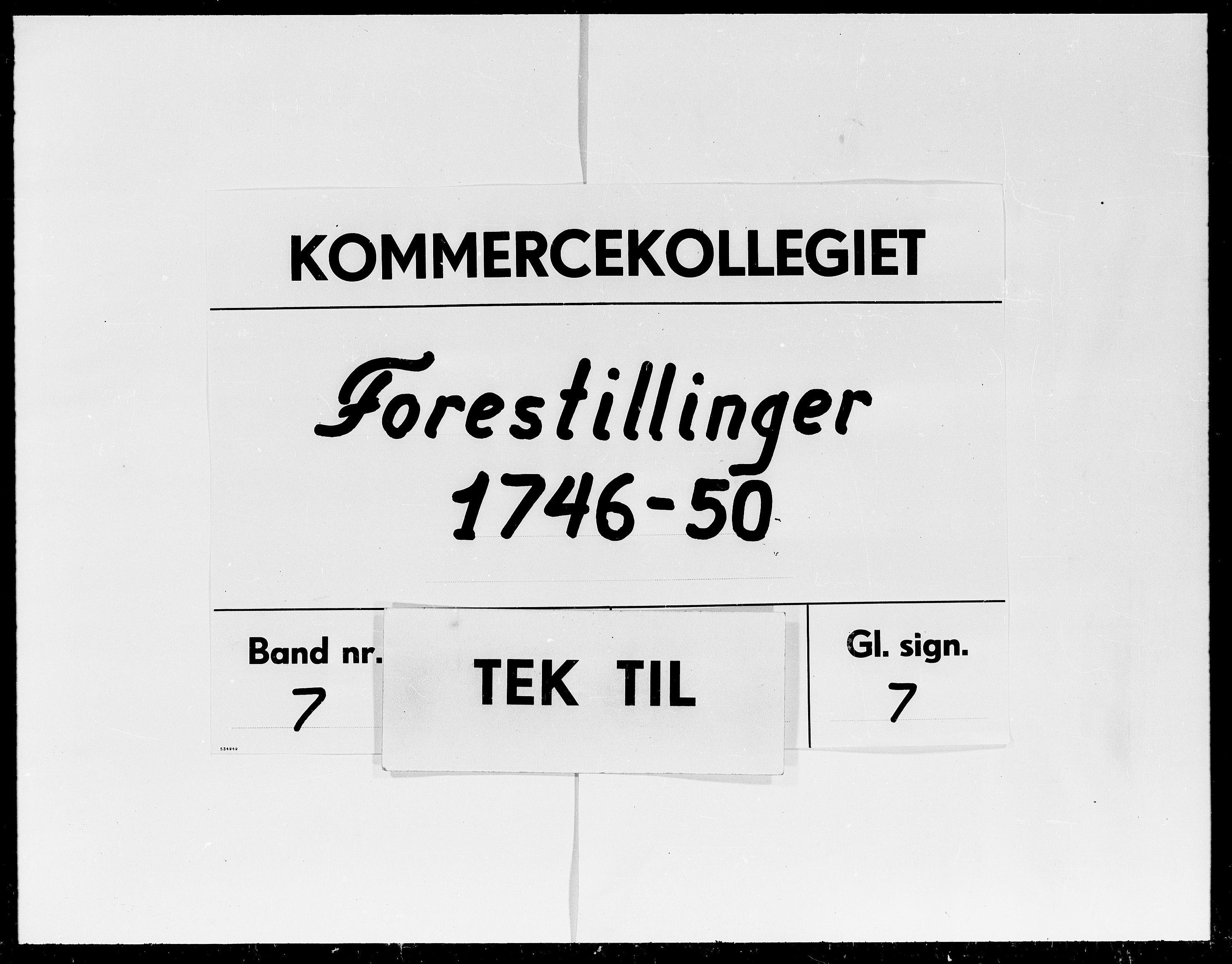 DRA, Kommercekollegiet, Dansk-Norske Sekretariat (1736-1771) / Kommercedeputationen (1771-1773), -/007: Forestillinger, 1746-1750