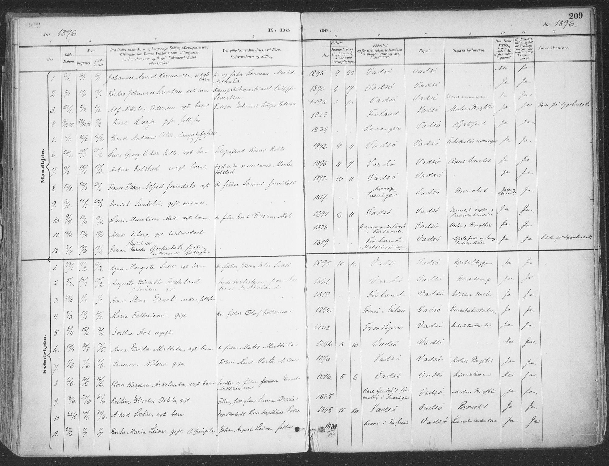SATØ, Vadsø sokneprestkontor, H/Ha/L0007kirke: Ministerialbok nr. 7, 1896-1916, s. 209