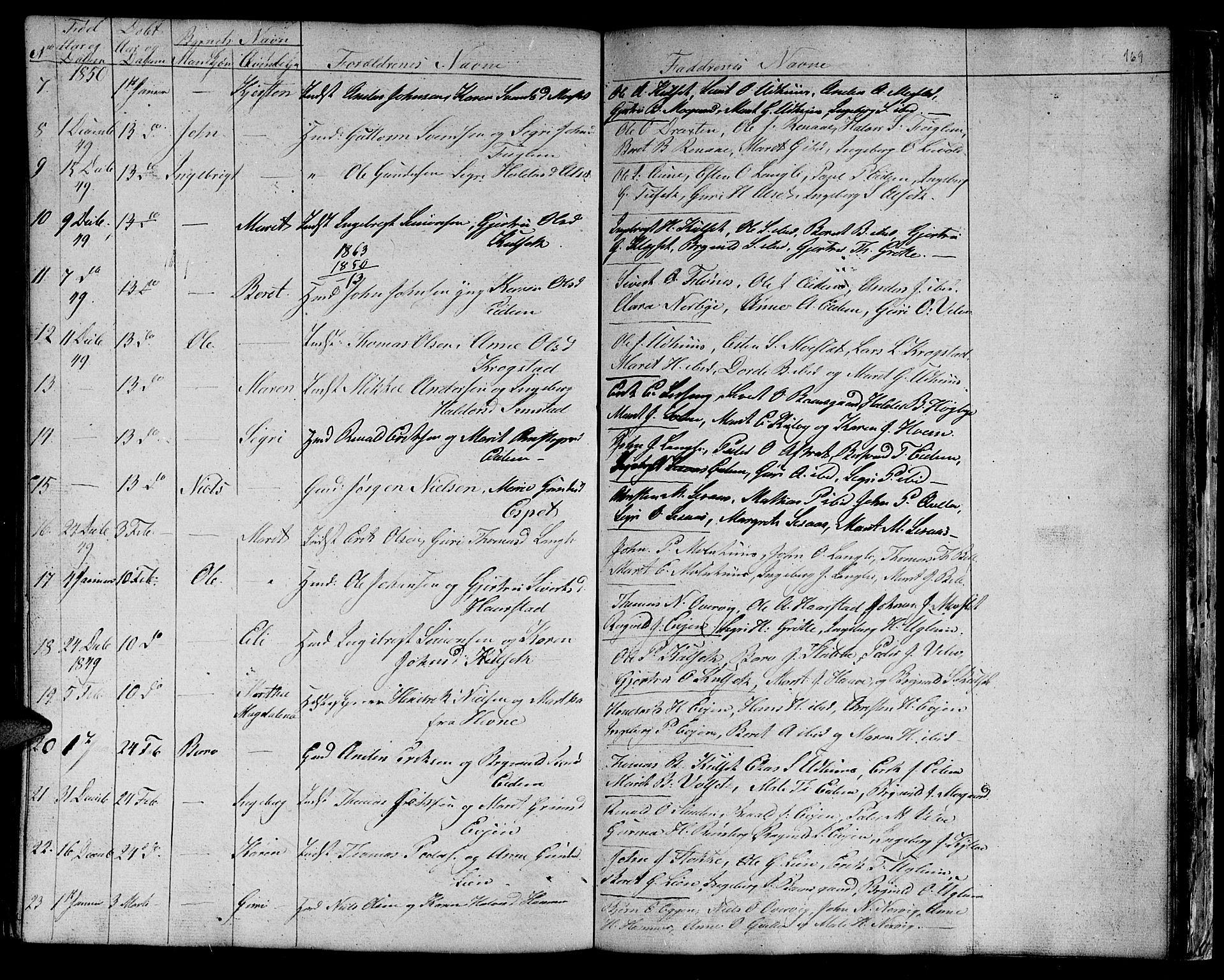 SAT, Ministerialprotokoller, klokkerbøker og fødselsregistre - Sør-Trøndelag, 695/L1154: Klokkerbok nr. 695C05, 1842-1858, s. 169