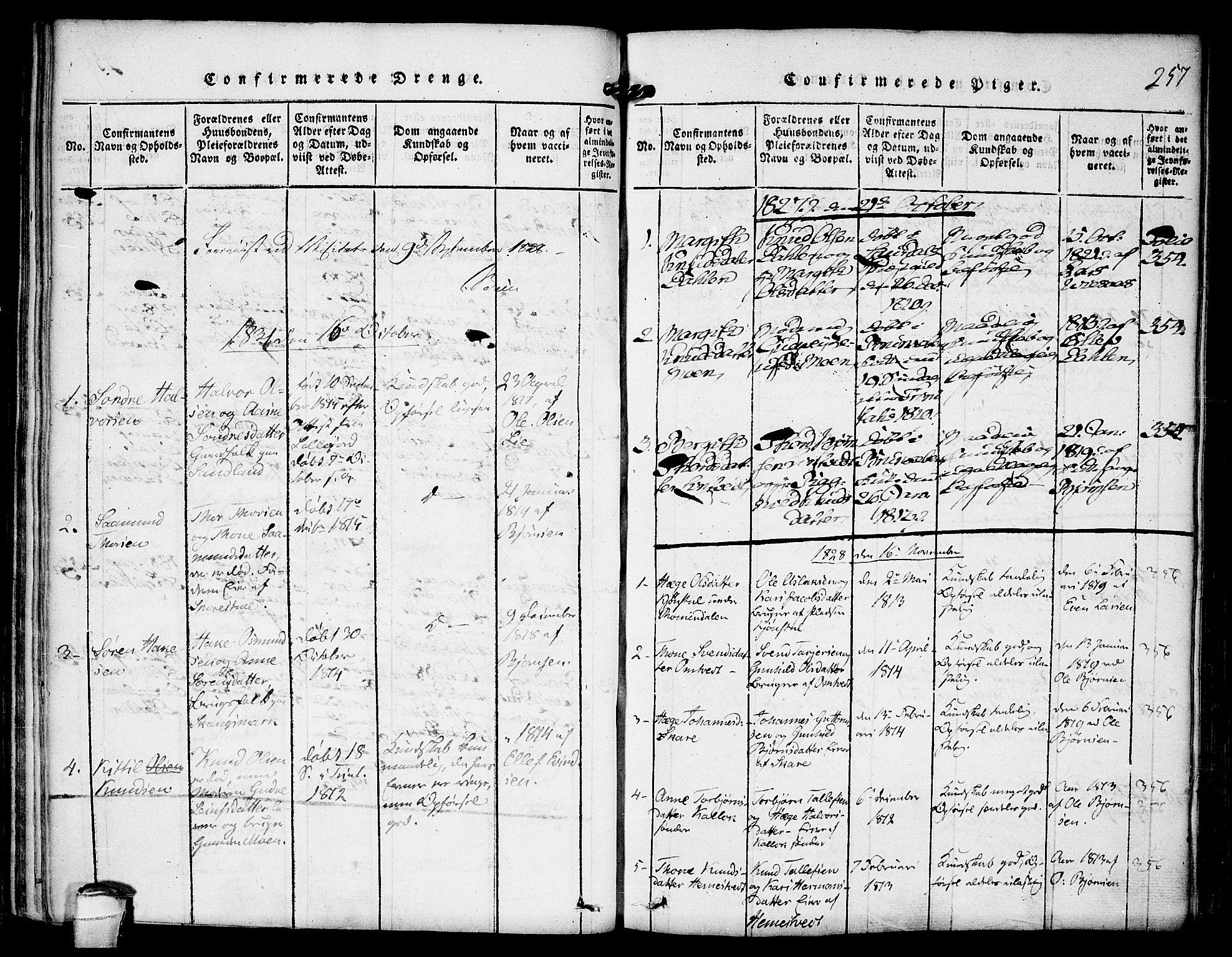 SAKO, Kviteseid kirkebøker, F/Fb/L0001: Ministerialbok nr. II 1, 1815-1836, s. 257