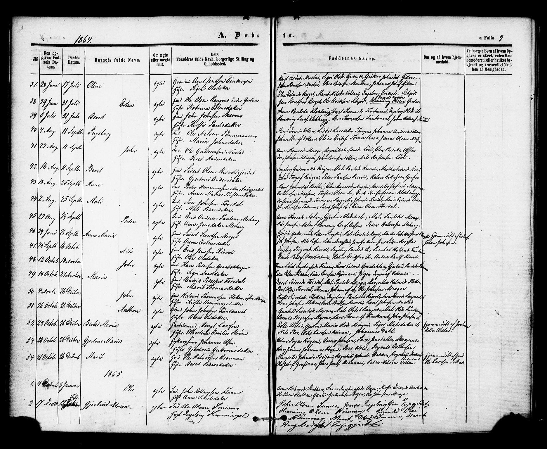 SAT, Ministerialprotokoller, klokkerbøker og fødselsregistre - Nord-Trøndelag, 706/L0041: Ministerialbok nr. 706A02, 1862-1877, s. 9