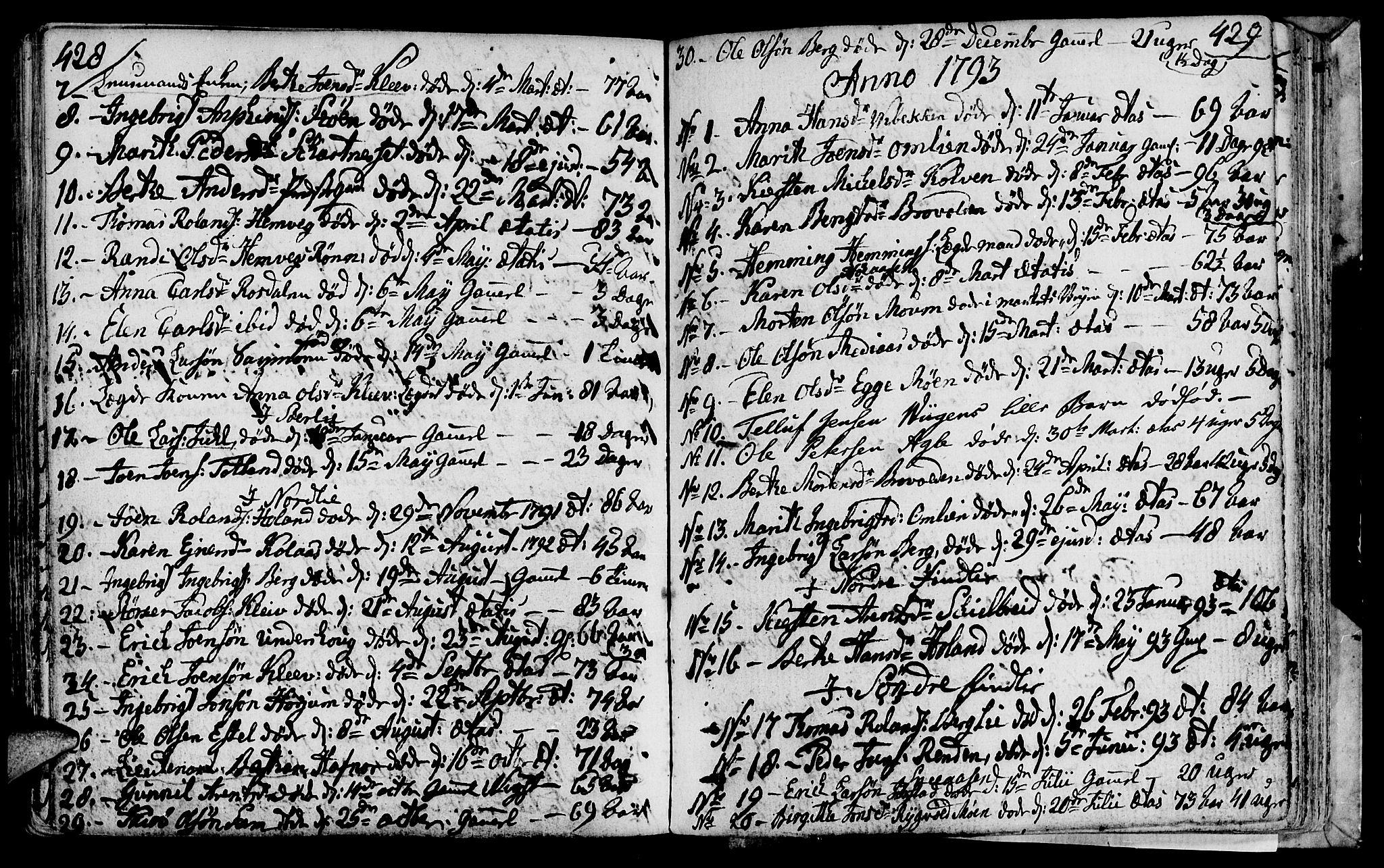 SAT, Ministerialprotokoller, klokkerbøker og fødselsregistre - Nord-Trøndelag, 749/L0468: Ministerialbok nr. 749A02, 1787-1817, s. 428-429