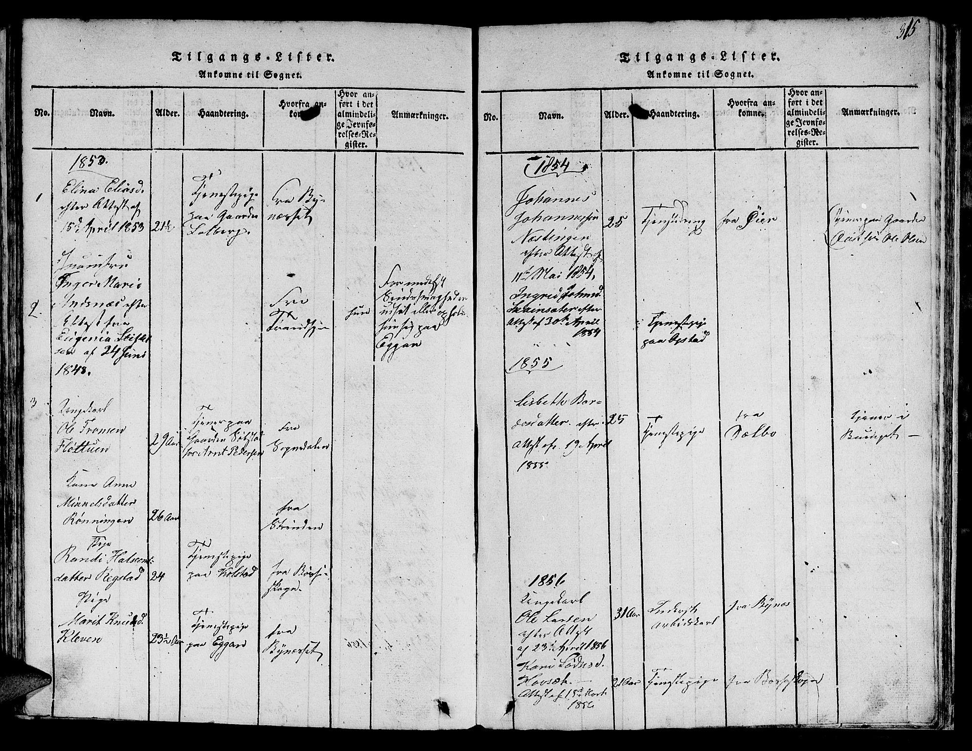 SAT, Ministerialprotokoller, klokkerbøker og fødselsregistre - Sør-Trøndelag, 613/L0393: Klokkerbok nr. 613C01, 1816-1886, s. 315